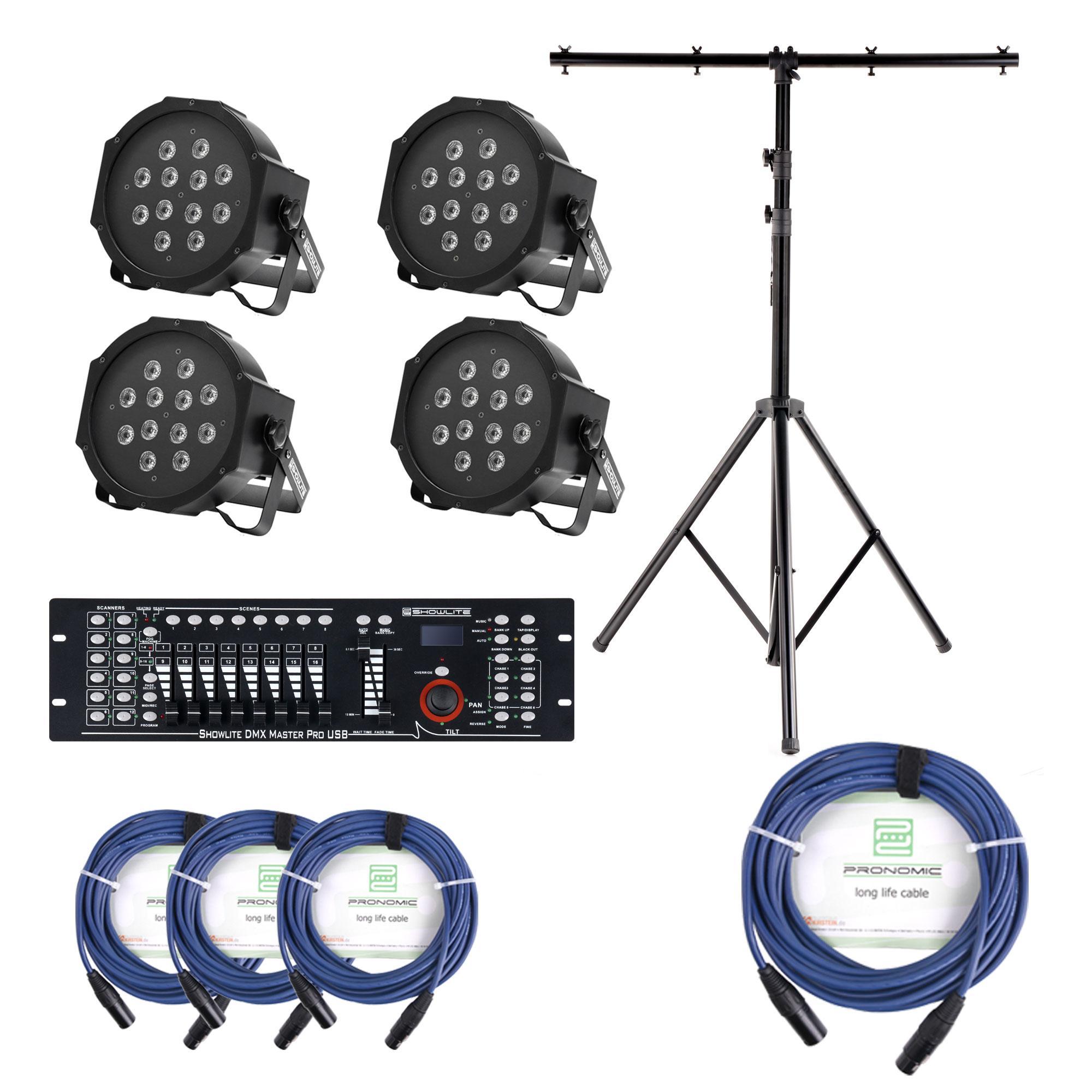 Showlite FLP 12x1W Scheinwerfer 4 x Set inkl. Showlite Master Pro USB, Stativ Kabel