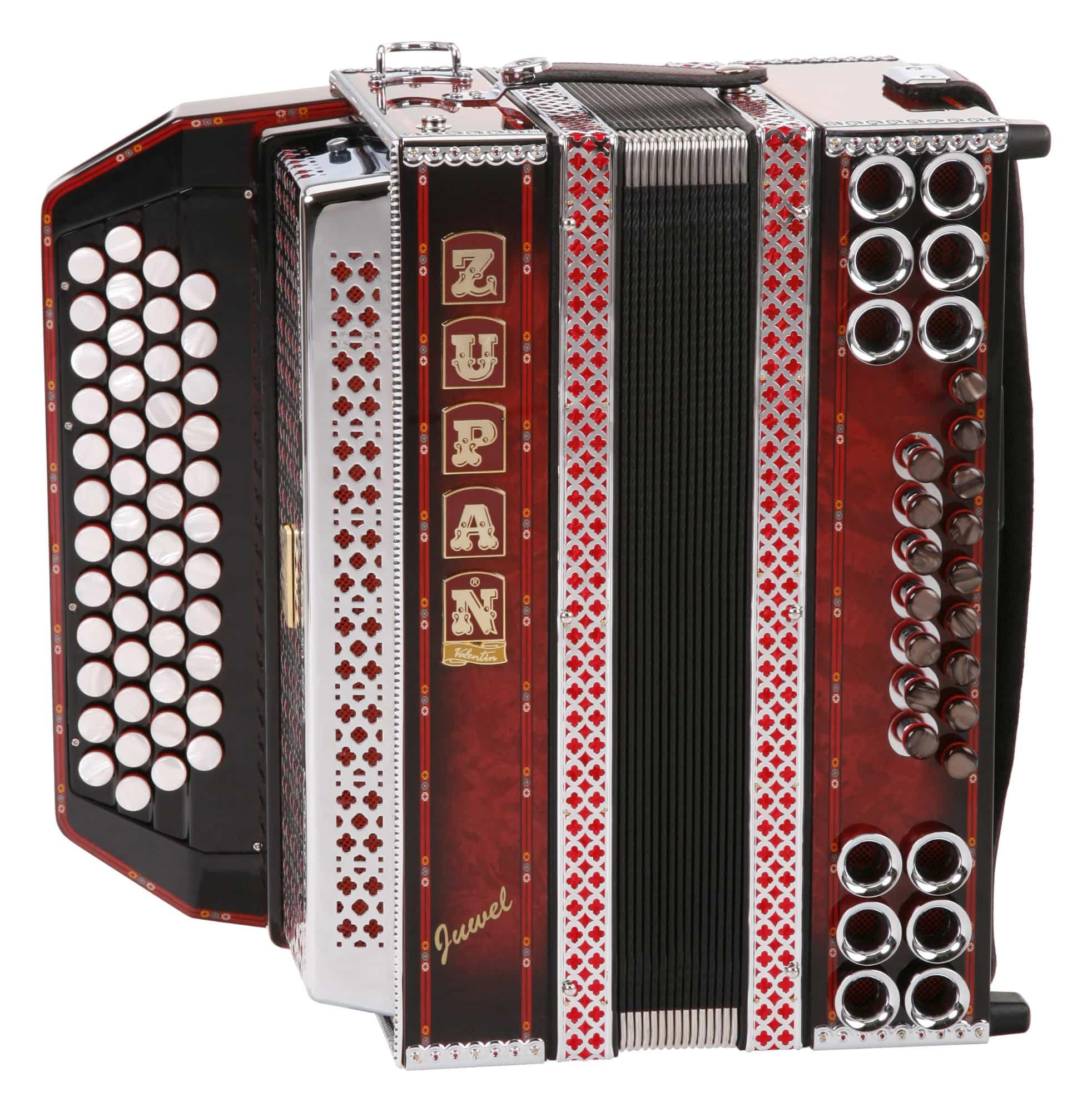 Akkordeons - Zupan Juwel IVD Harmonika Shadow Red (G C F B) - Onlineshop Musikhaus Kirstein