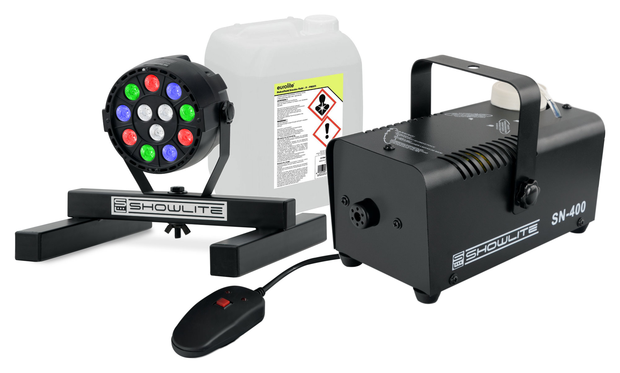 Nebeleffekte - Showlite SN 400 Nebelmaschine SPS 121 RGBW Spot 5 l Fluid Set - Onlineshop Musikhaus Kirstein