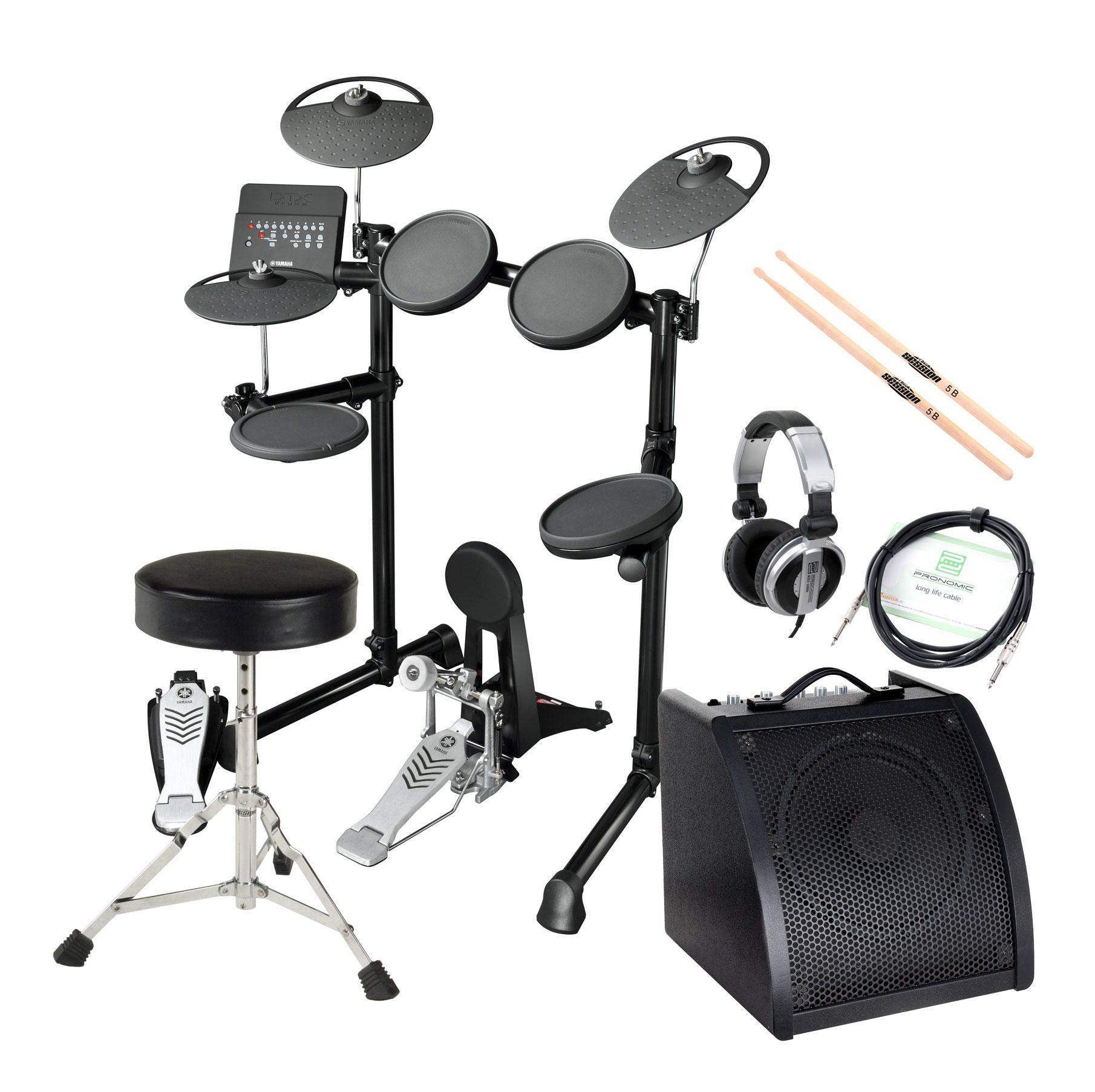 Yamaha DTX450K Compact E Drum Kit SET inkl. Verstärker Kopfhörer Drumhocker Sticks