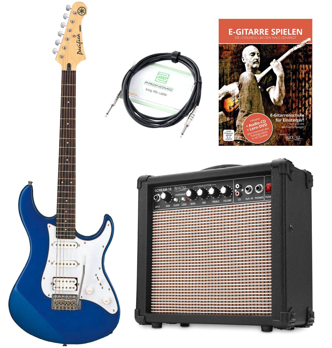 Egitarren - Yamaha Pacifica 012 DBM E Gitarre Set inkl. Amp Kabel E Gitarrenschule, Blau - Onlineshop Musikhaus Kirstein