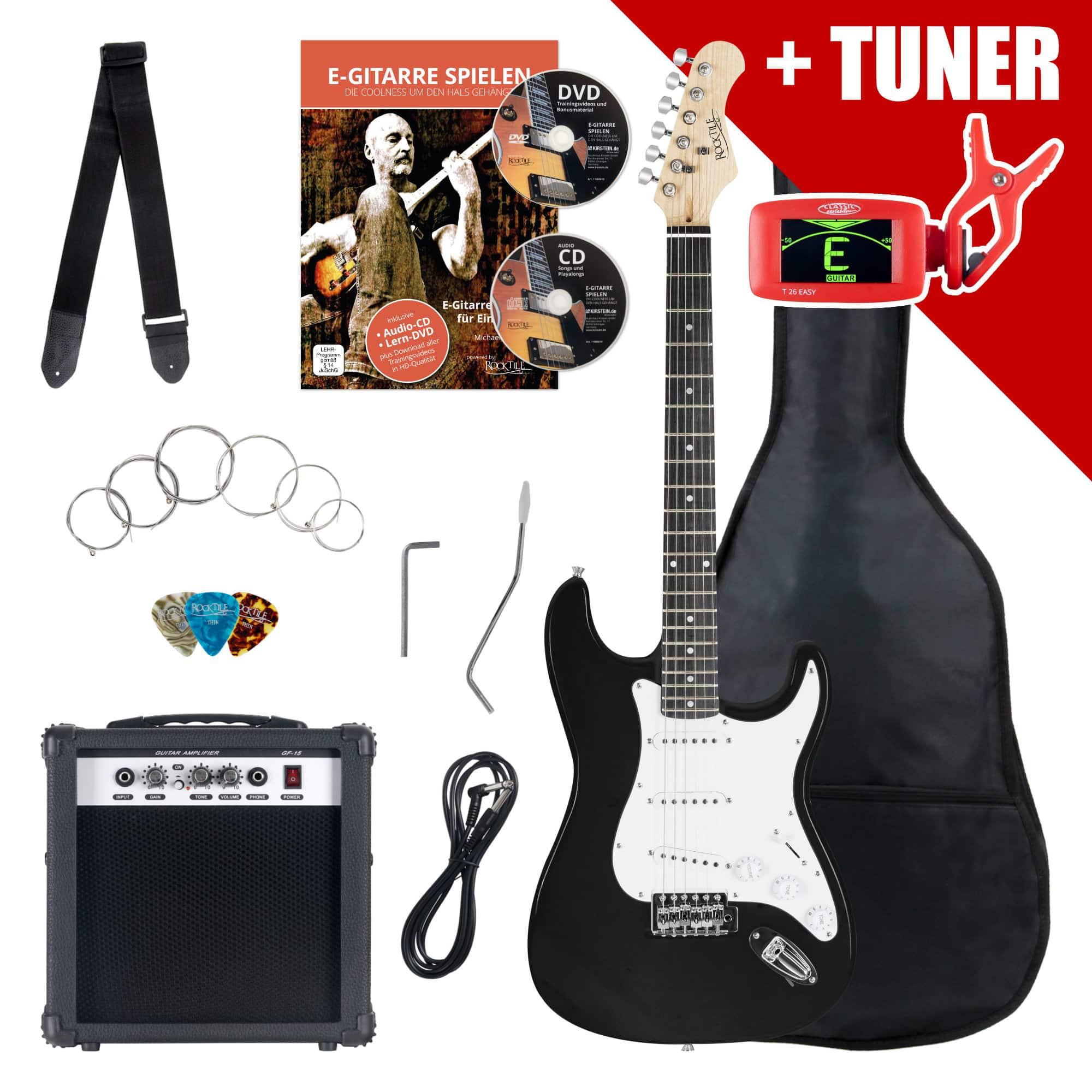 Rocktile ST Pack E Gitarre Set Schwarz inkl. Verstärker, Tasche, Stimmgerät, Kabel, Gurt, Saiten und Schule inkl. CD|DVD
