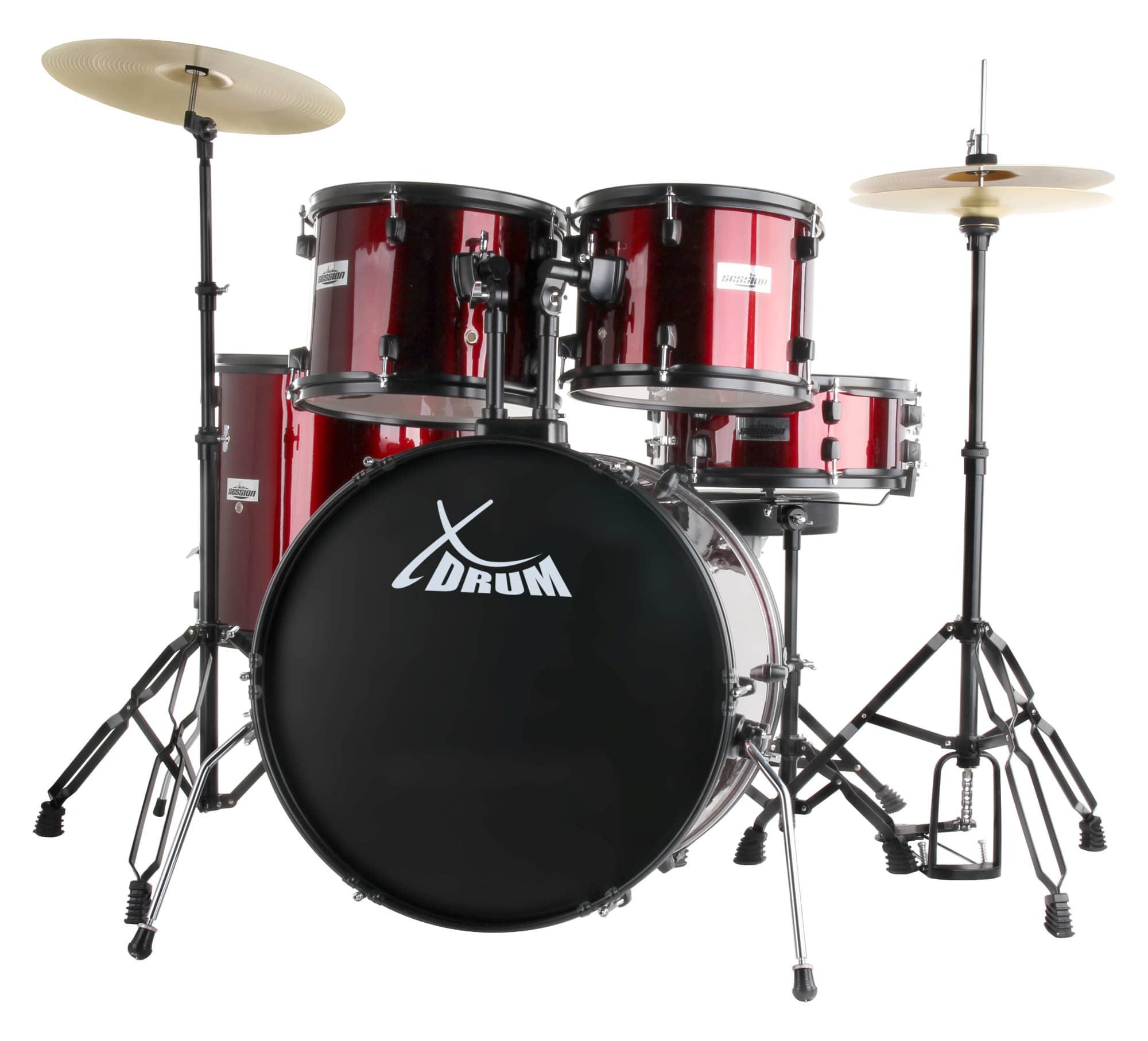 XDrum Rookie 22' Standard Schlagzeug Komplettset Ruby Red inkl. Schule DVD