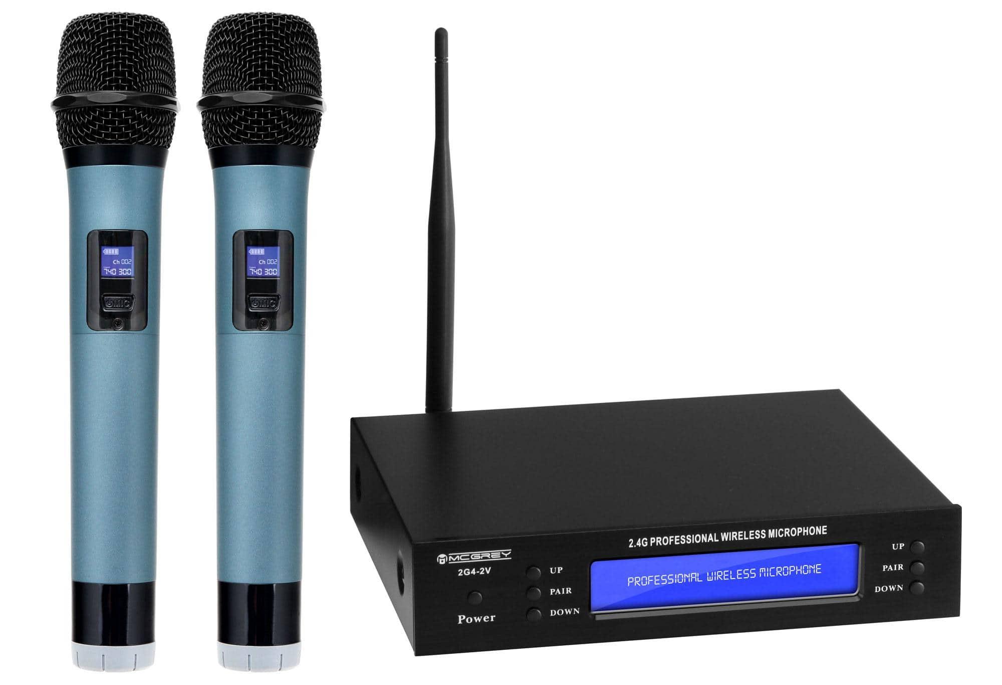 mcgrey 2g4 2v dual vocal wireless microphone set with 2x handheld microphones 50 m. Black Bedroom Furniture Sets. Home Design Ideas