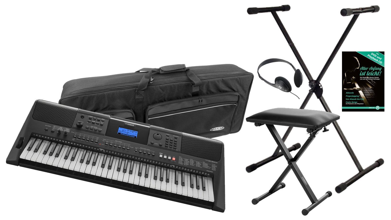 yamaha psr e453 keyboard deluxe set. Black Bedroom Furniture Sets. Home Design Ideas