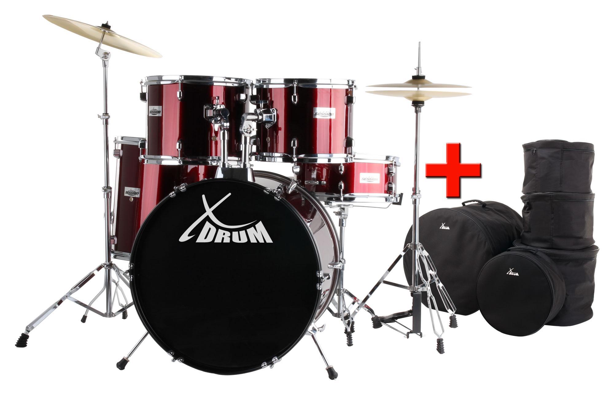 XDrum Semi Schlagzeug 22' Red SparSET Taschen