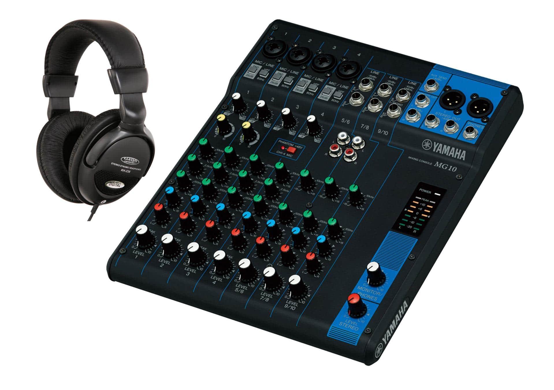 Mischpulte - Yamaha MG10 Mischpult SET mit Kopfhörer - Onlineshop Musikhaus Kirstein