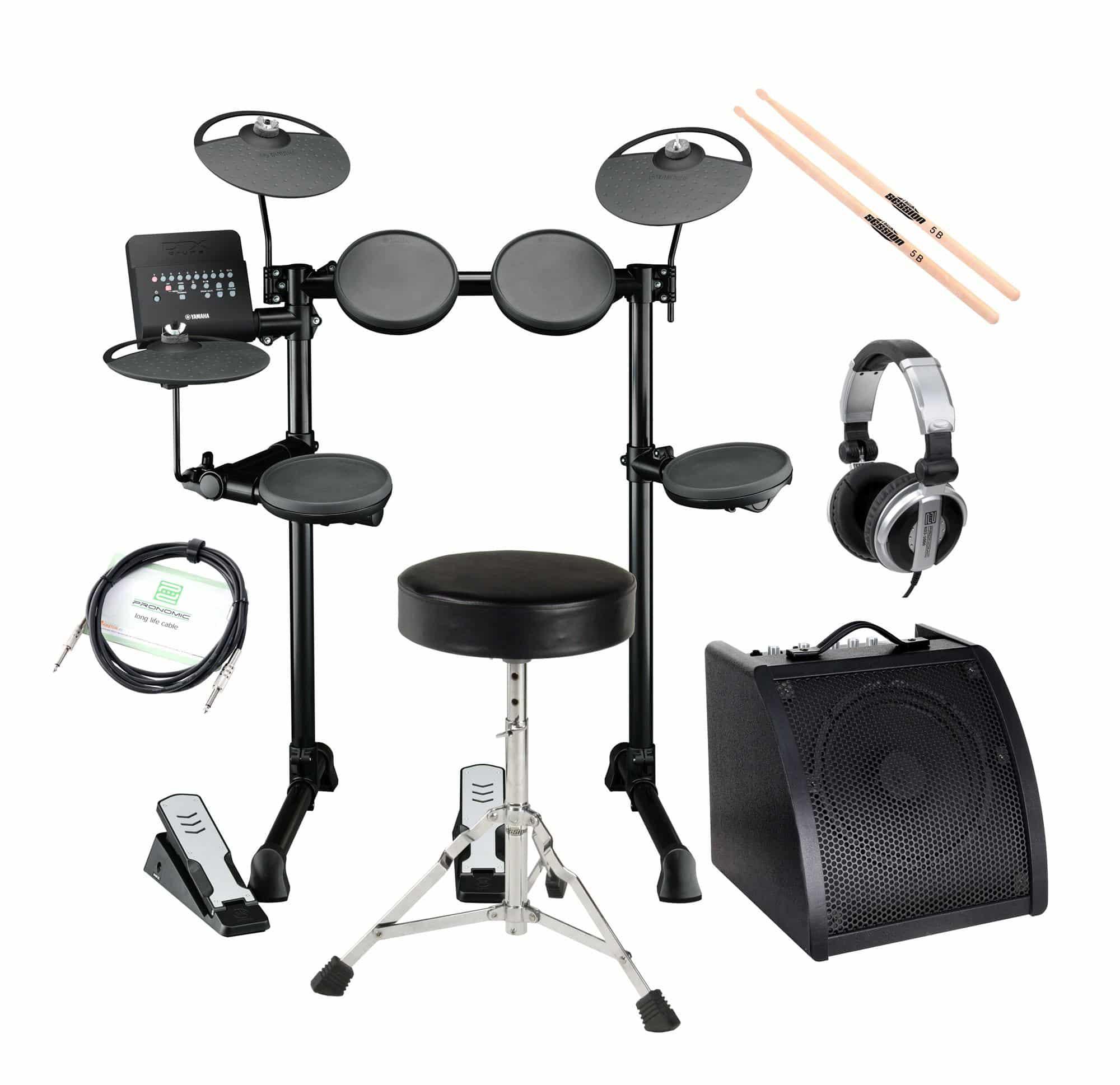 Yamaha DTX400K Compact E Drum SET inkl. Verstärker Kopfhörer Drumhocker Sticks