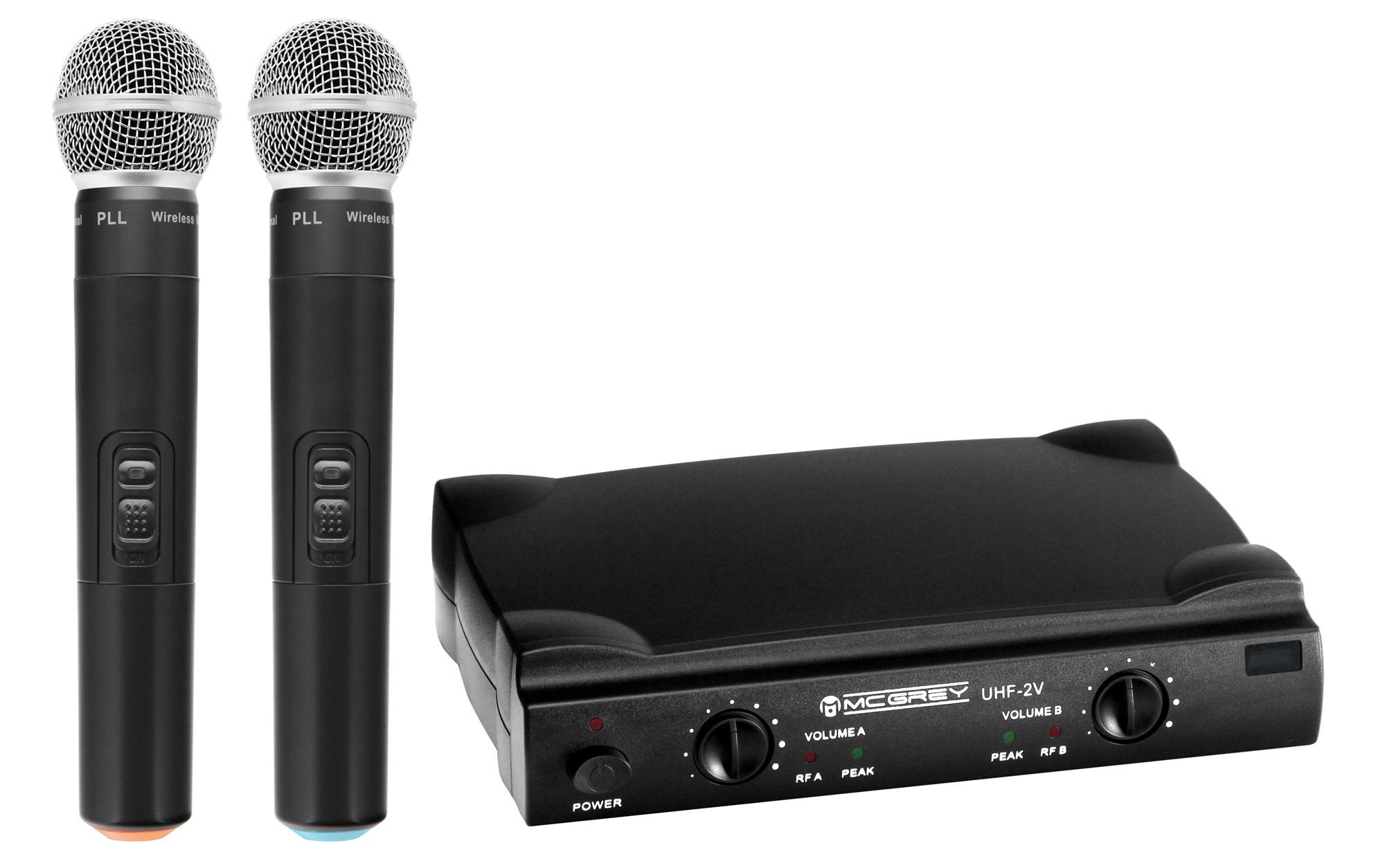 mcgrey uhf 2v dual vocal wireless microphone set with 2x handheld microphones 50m. Black Bedroom Furniture Sets. Home Design Ideas