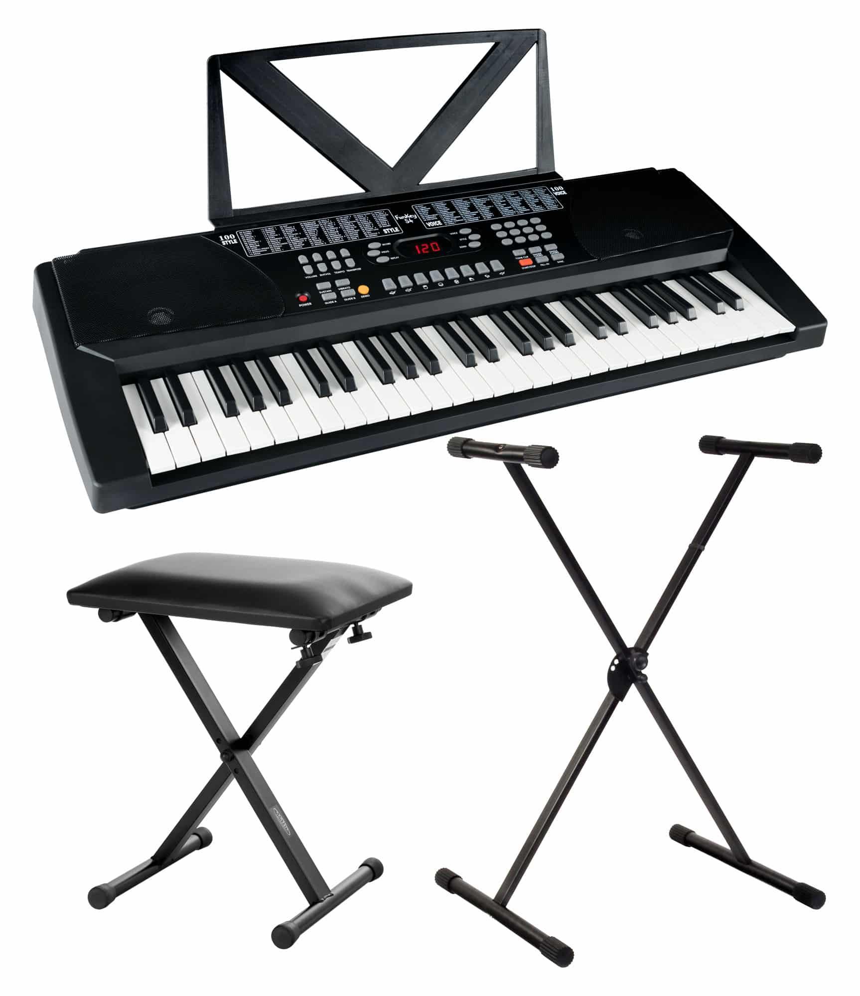 Digital Funkey 54-Tasten Keyboard Ständer Stativ Klavier Sitz Bank Set E-Piano