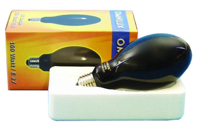 Omnilux UV Leuchtmittel 160 Watt E 27 Lampe, Schwarzlicht