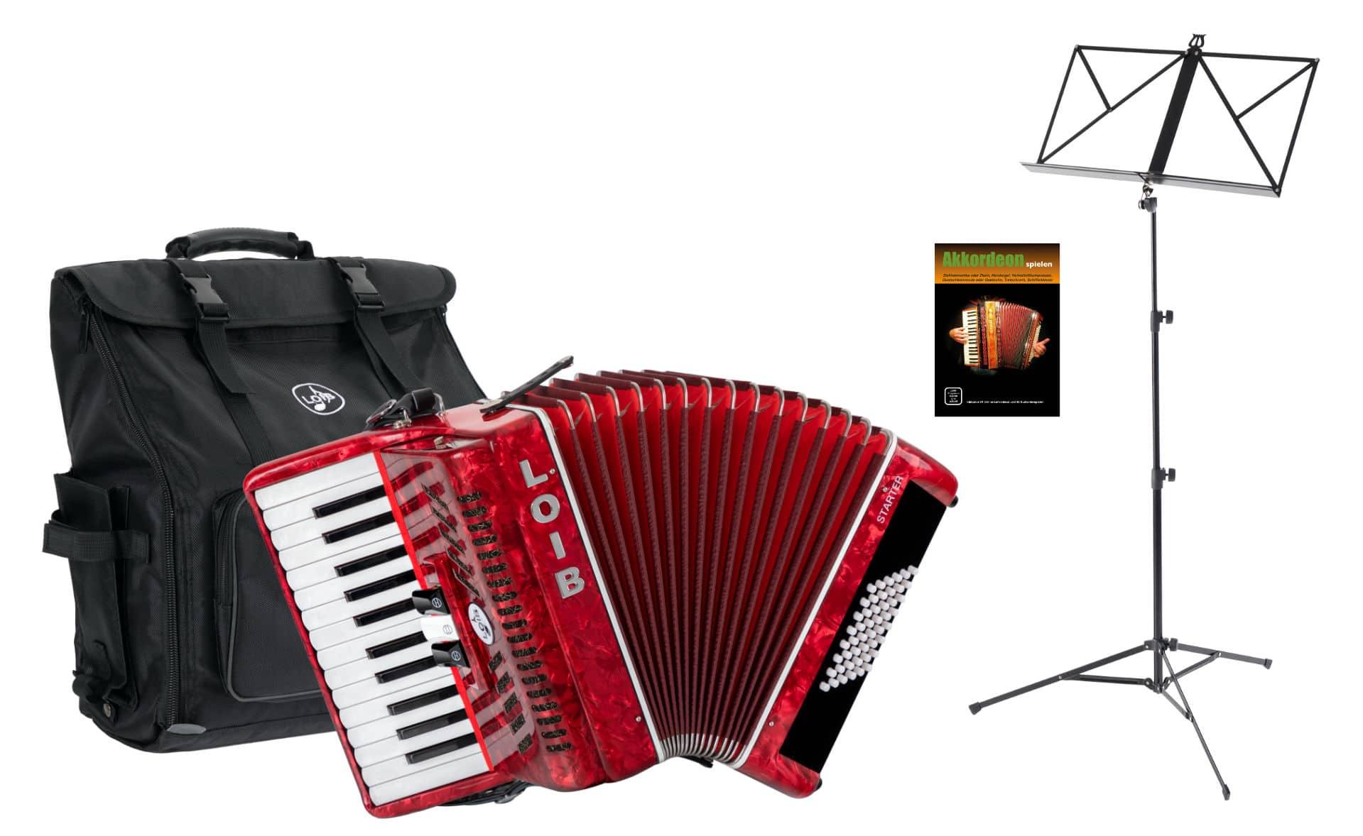 Akkordeons - Loib Starter II 48 RD Einsteiger Akkordeon Set Rot - Onlineshop Musikhaus Kirstein