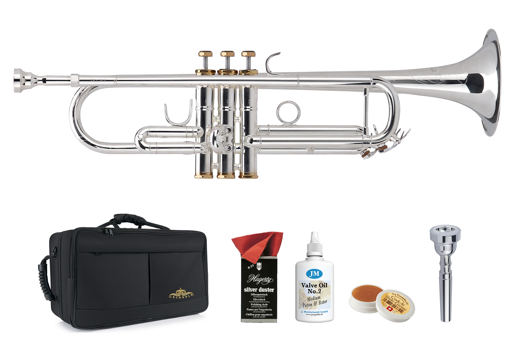 Trompeten - Lechgold TR 16S Bb Trompete versilbert Deluxe Set - Onlineshop Musikhaus Kirstein