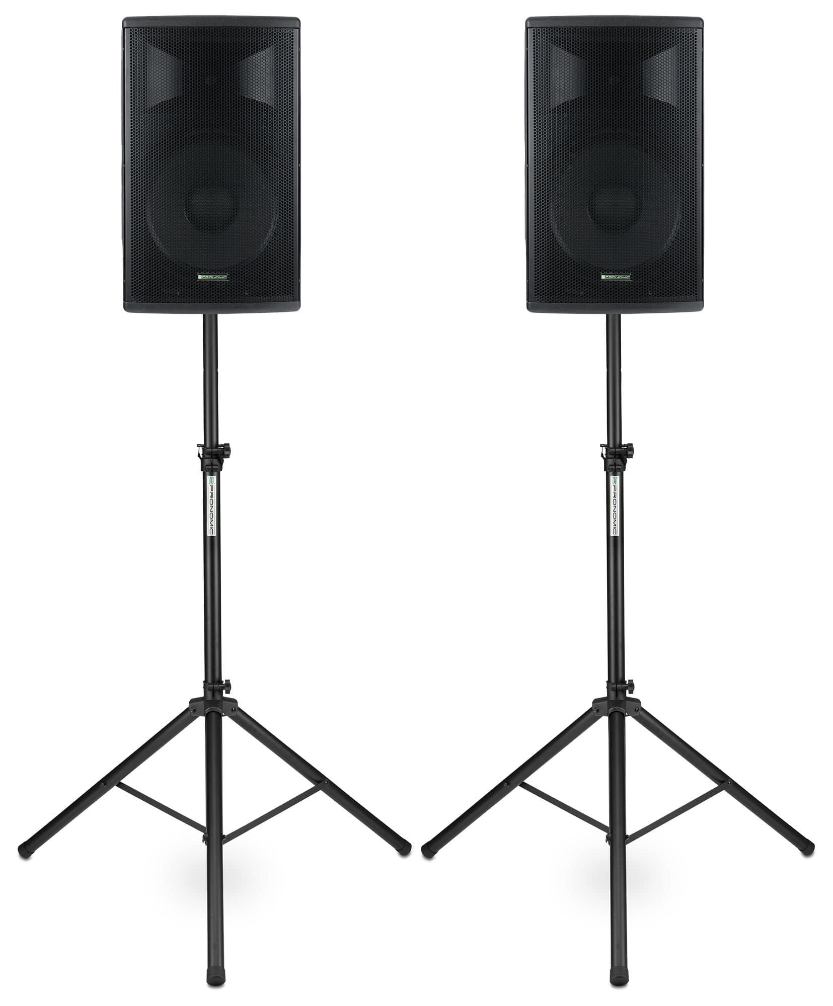 Paboxen - Pronomic E 215 MA 15 Aktivbox 500 Watt Stativ Set - Onlineshop Musikhaus Kirstein