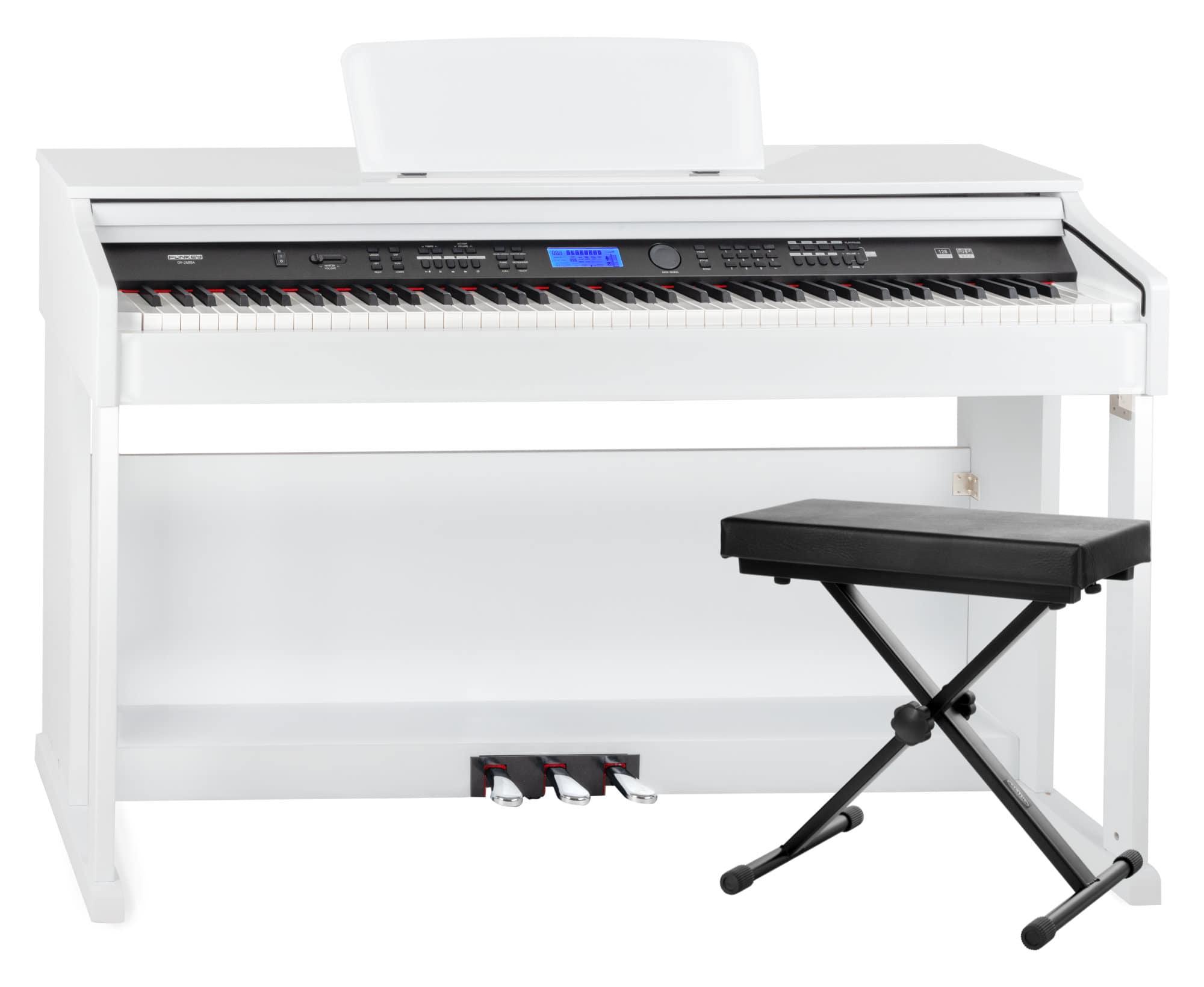 Digitalpianos - FunKey DP 2688A WH Digitalpiano weiß Hochglanz Bank Set - Onlineshop Musikhaus Kirstein