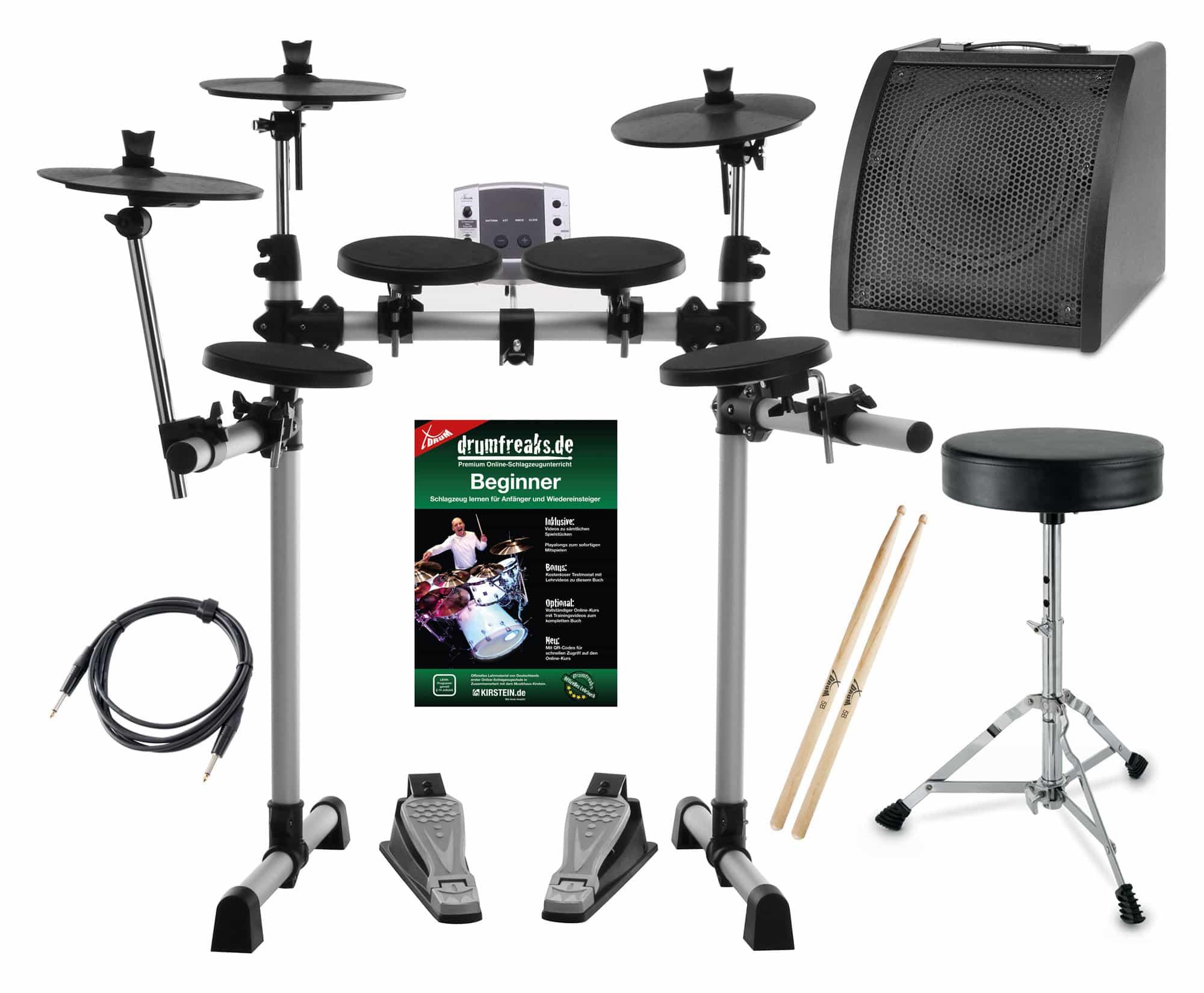 XDrum DD 400 E Drum Set Komplettset mit Verstärker Kabel, Drumhocker und Sticks