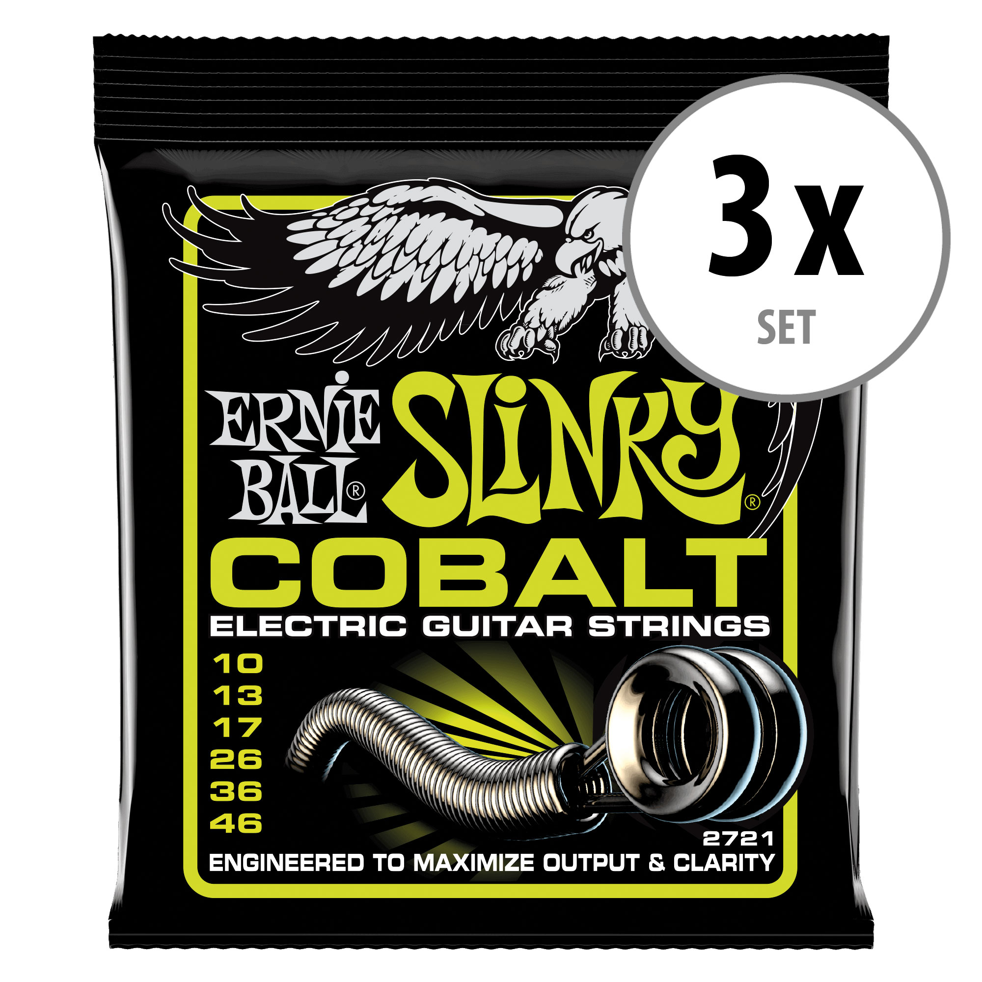 3er Set Ernie Ball 2721 Slinky Cobalt Regular