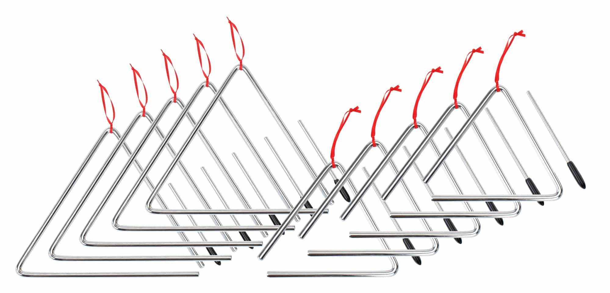 XDrum Triangel Starter SET 5 Stück klein 15cm 5 Stück groß 25cm inkl. Schlägel