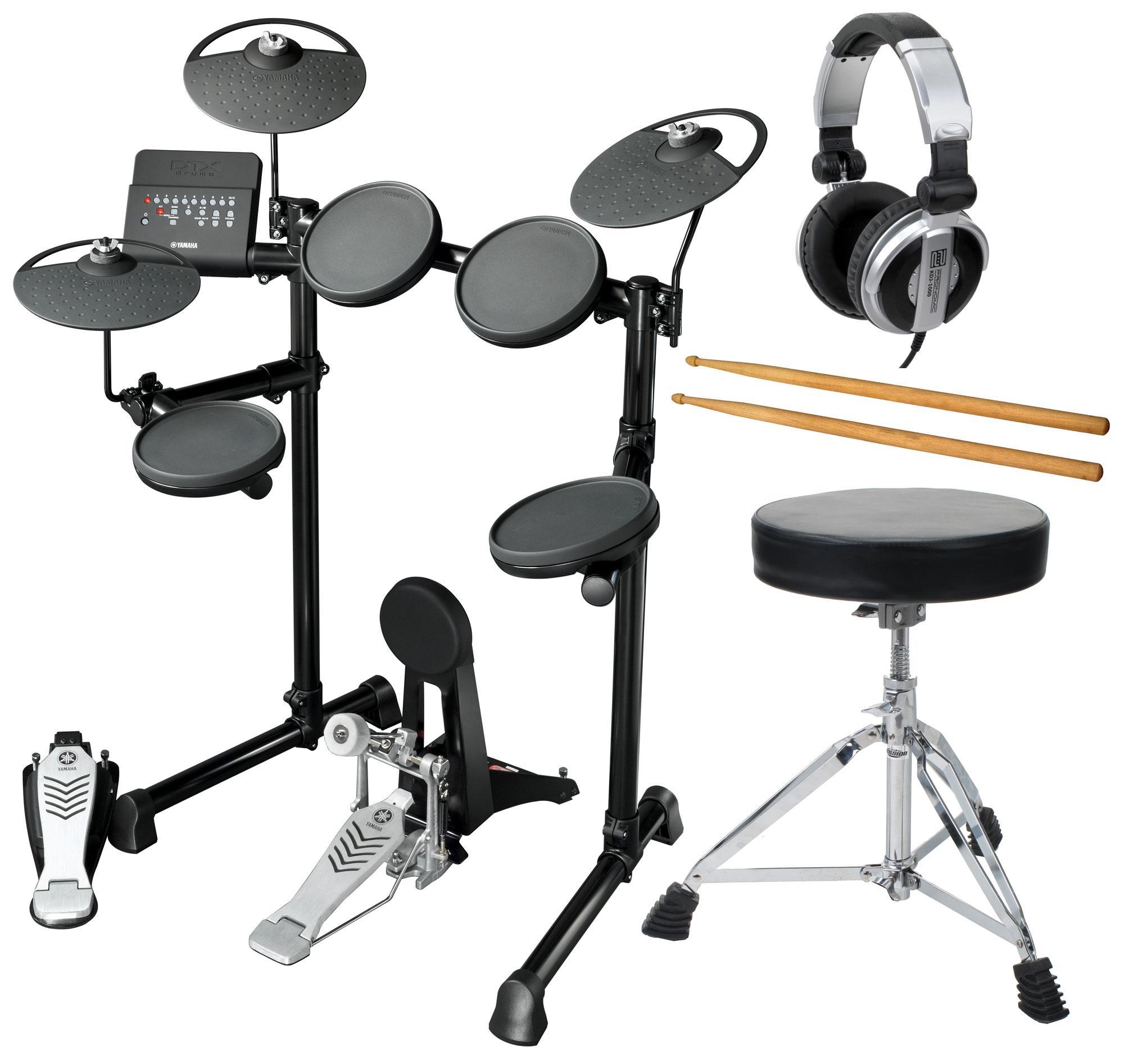 Yamaha DTX430K Compact E Drum Komplettset inkl. Hocker, Kopfhörer Sticks