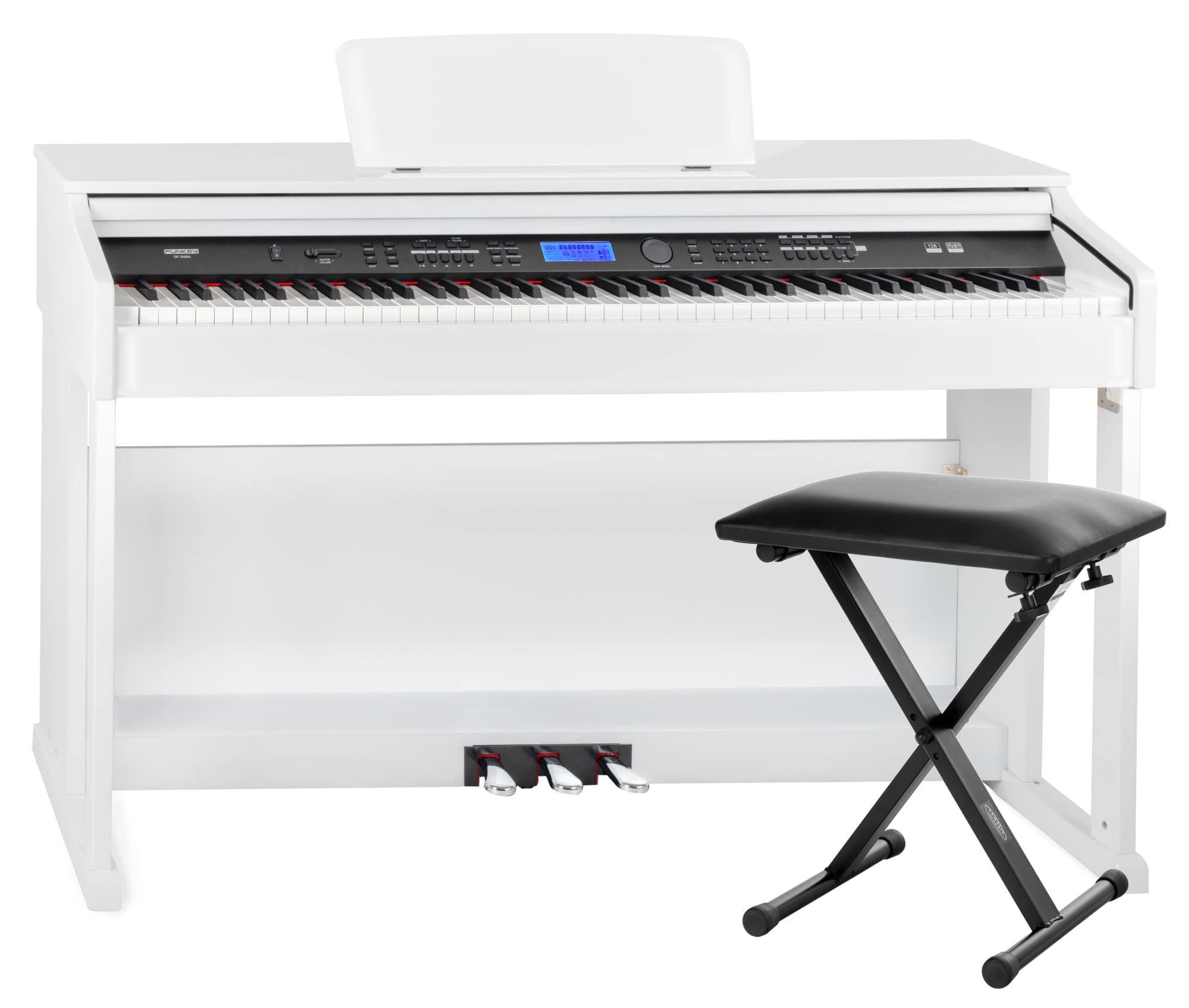 Digitalpianos - FunKey DP 2688A WH Digitalpiano weiß Hochglanz Economy Bank Set - Onlineshop Musikhaus Kirstein