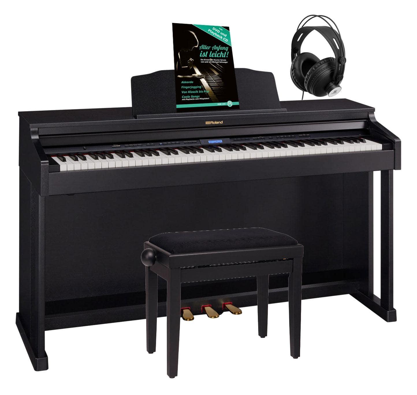 Roland HP601 CB Digital Piano Schwarz matt Set inkl. Pianobank, Kopfhörer Schule