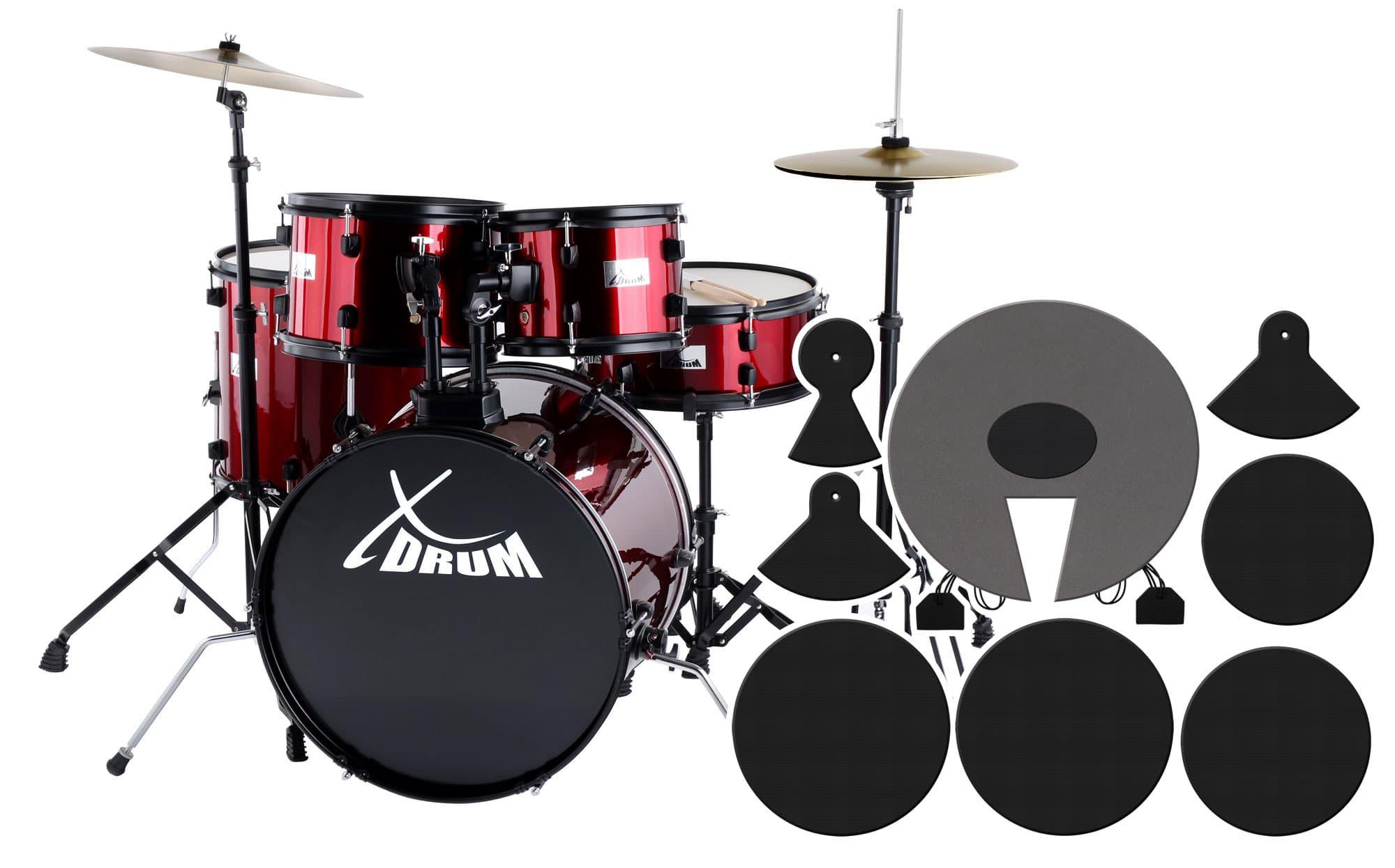XDrum Rookie 20' Studio Schlagzeug Red plus Dämpferset