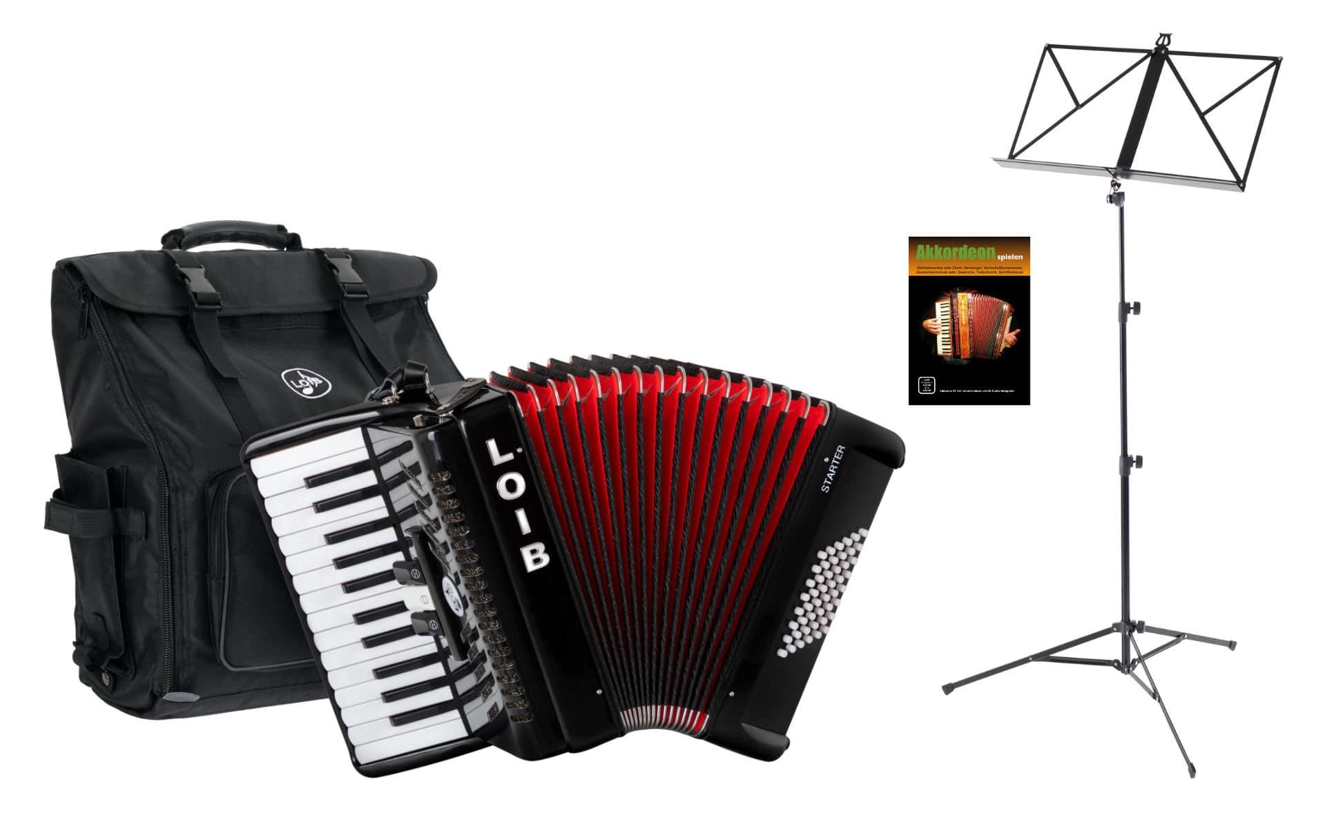 Akkordeons - Loib Starter II 48 BK Einsteiger Akkordeon Set Schwarz - Onlineshop Musikhaus Kirstein