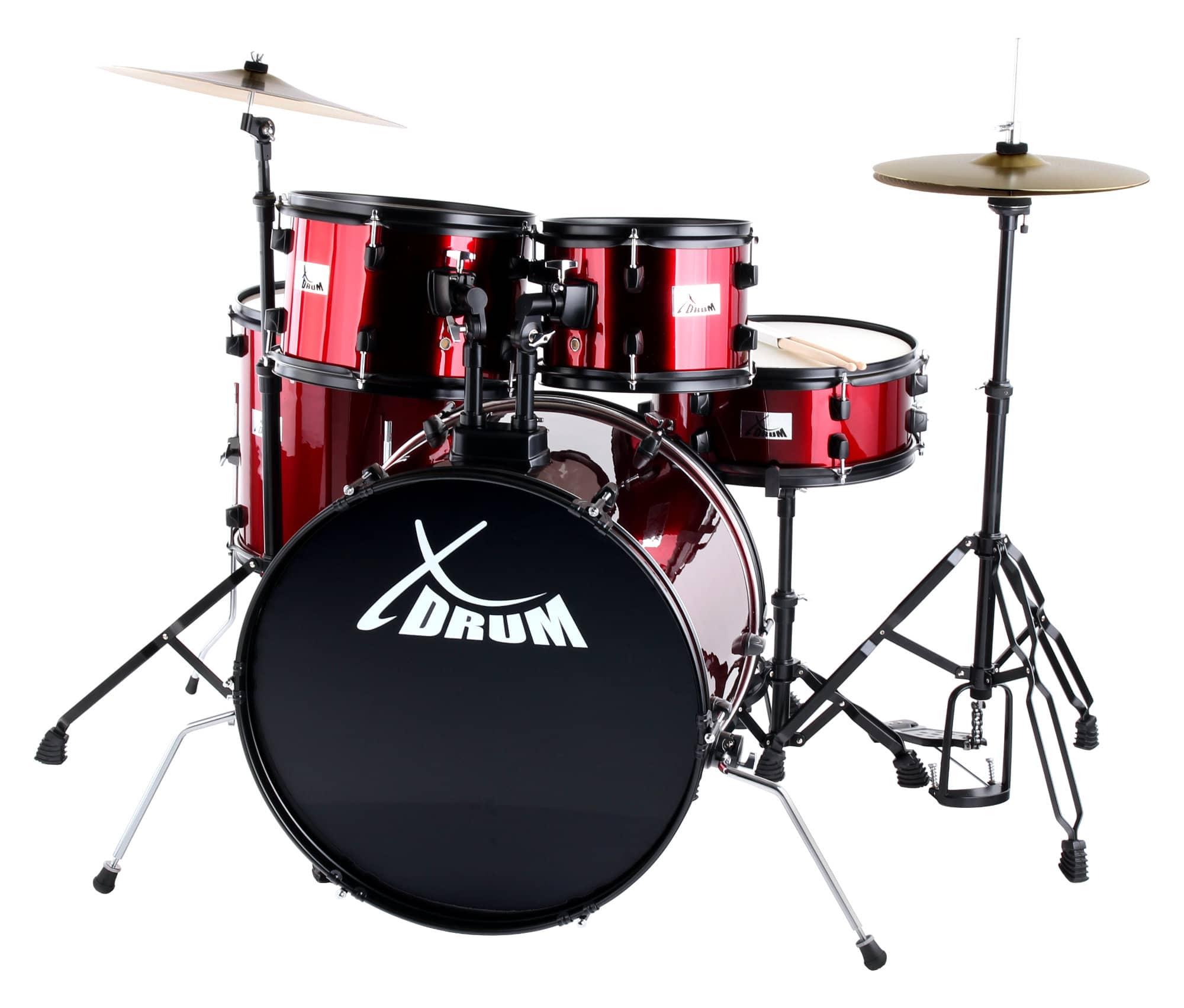 XDrum Rookie 22' Fusion Schlagzeug Komplettset Ruby Red inkl. Schule DVD