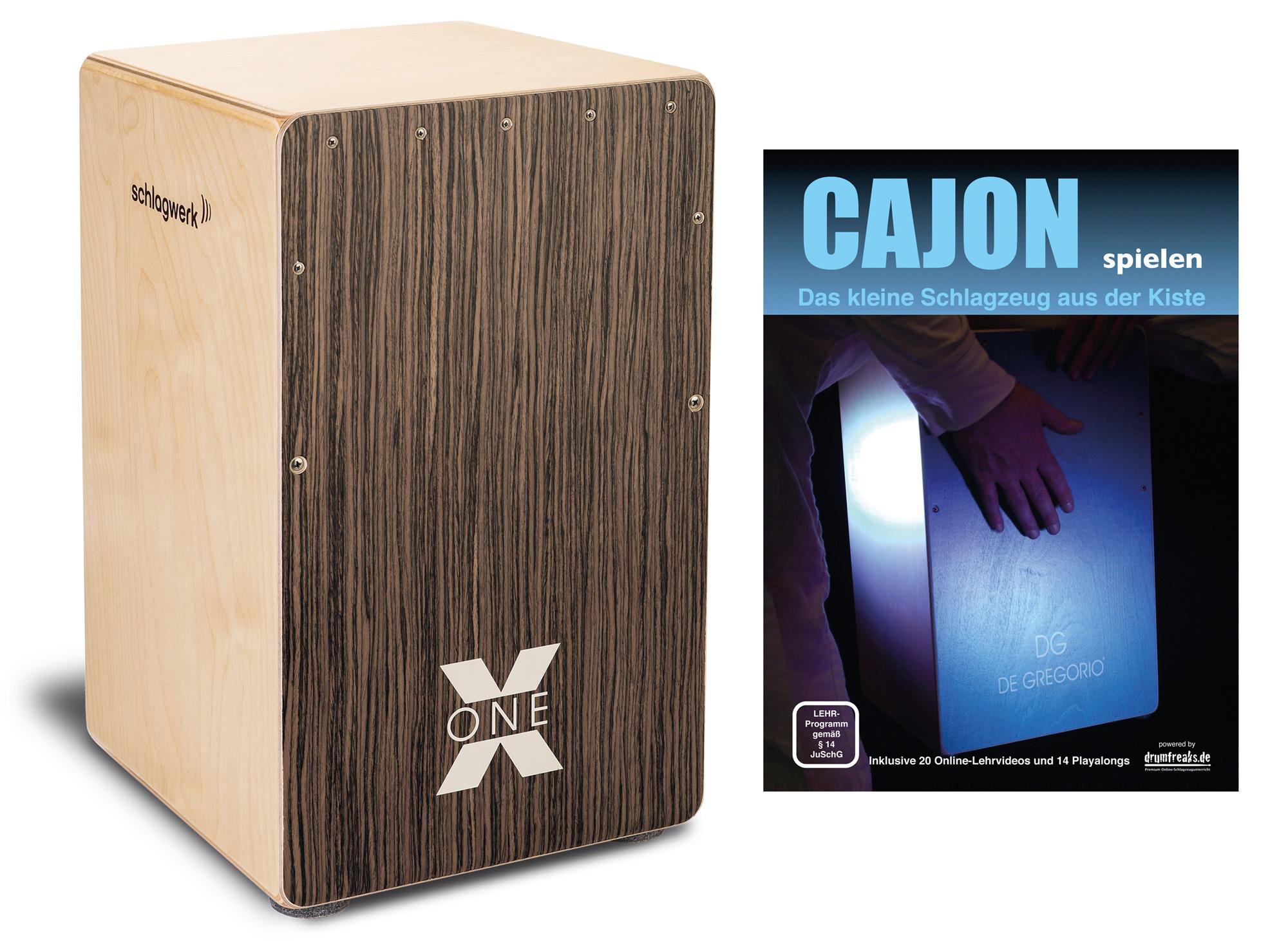 Schlagwerk CP150 Cajon X One Vintage Walnut Set inkl. Cajonschule