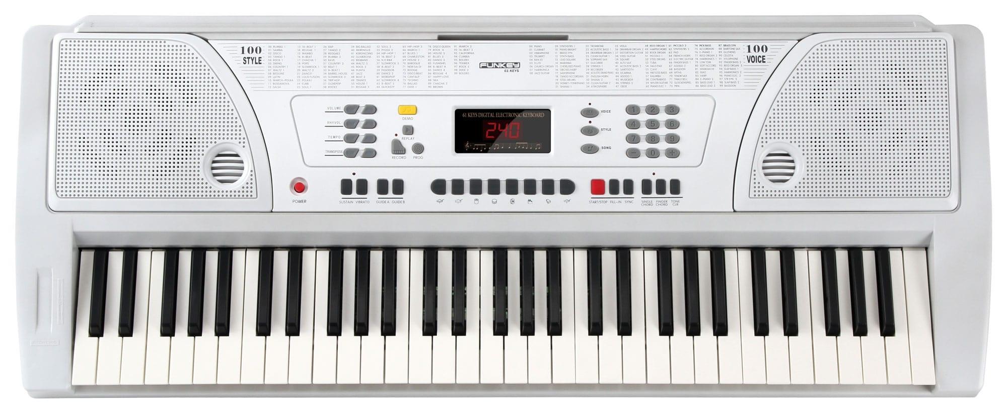 FunKey 61 Keyboard inkl. Netzteil und Notenhalter Weiß