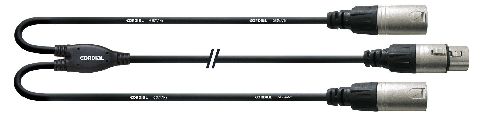 Kabelmulticores - Cordial CFY 0,3 FMM XLR Adapterkabel 0,3 m Schwarz - Onlineshop Musikhaus Kirstein