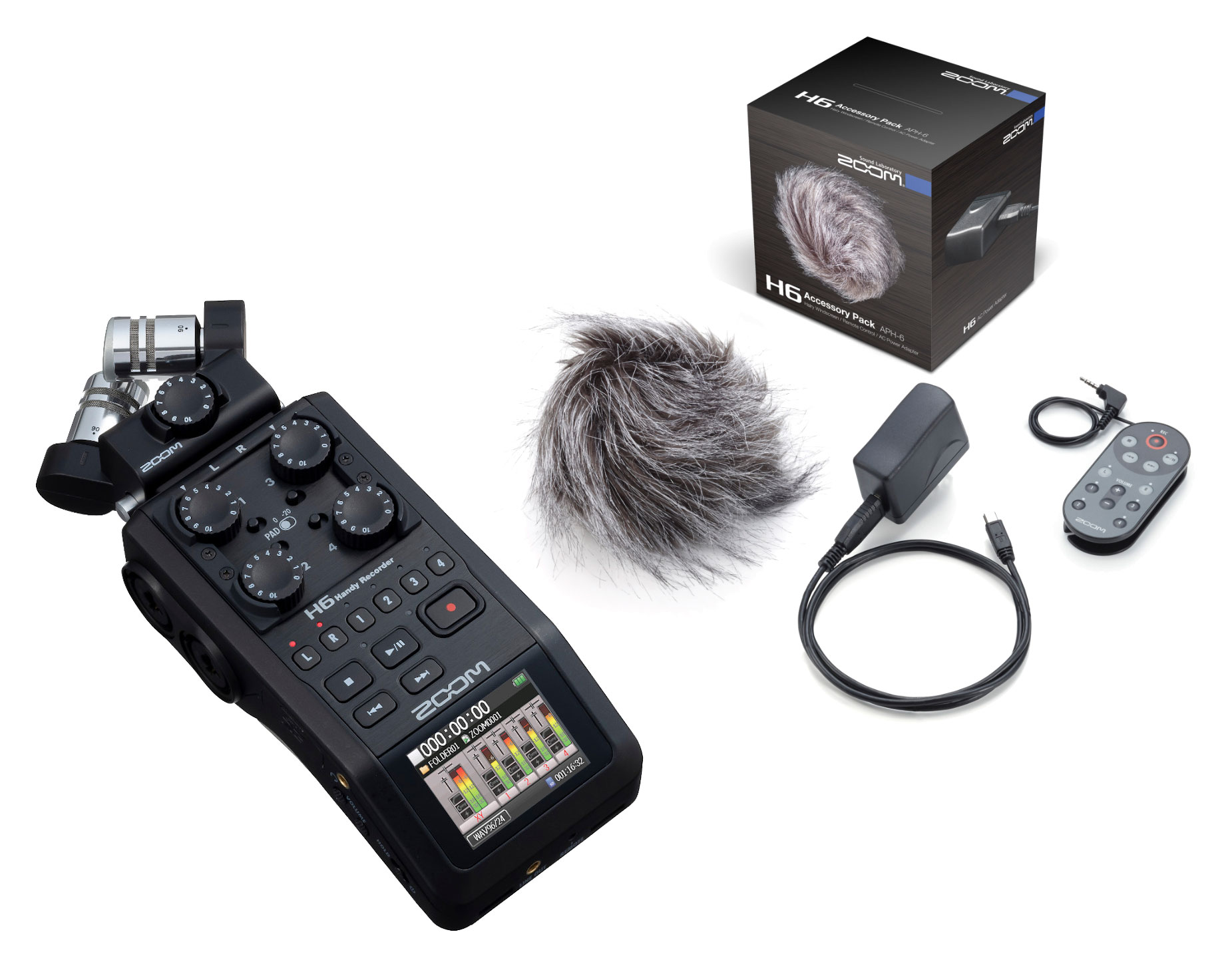 Recording - Zoom H6 Black APH 6 portables Recorder Set - Onlineshop Musikhaus Kirstein