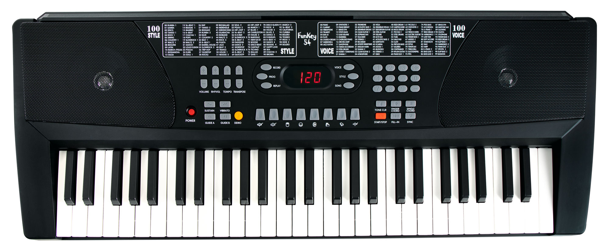 Homekeyboards - FunKey 54 Keyboard inkl. Netzteil und Notenhalter schwarz - Onlineshop Musikhaus Kirstein