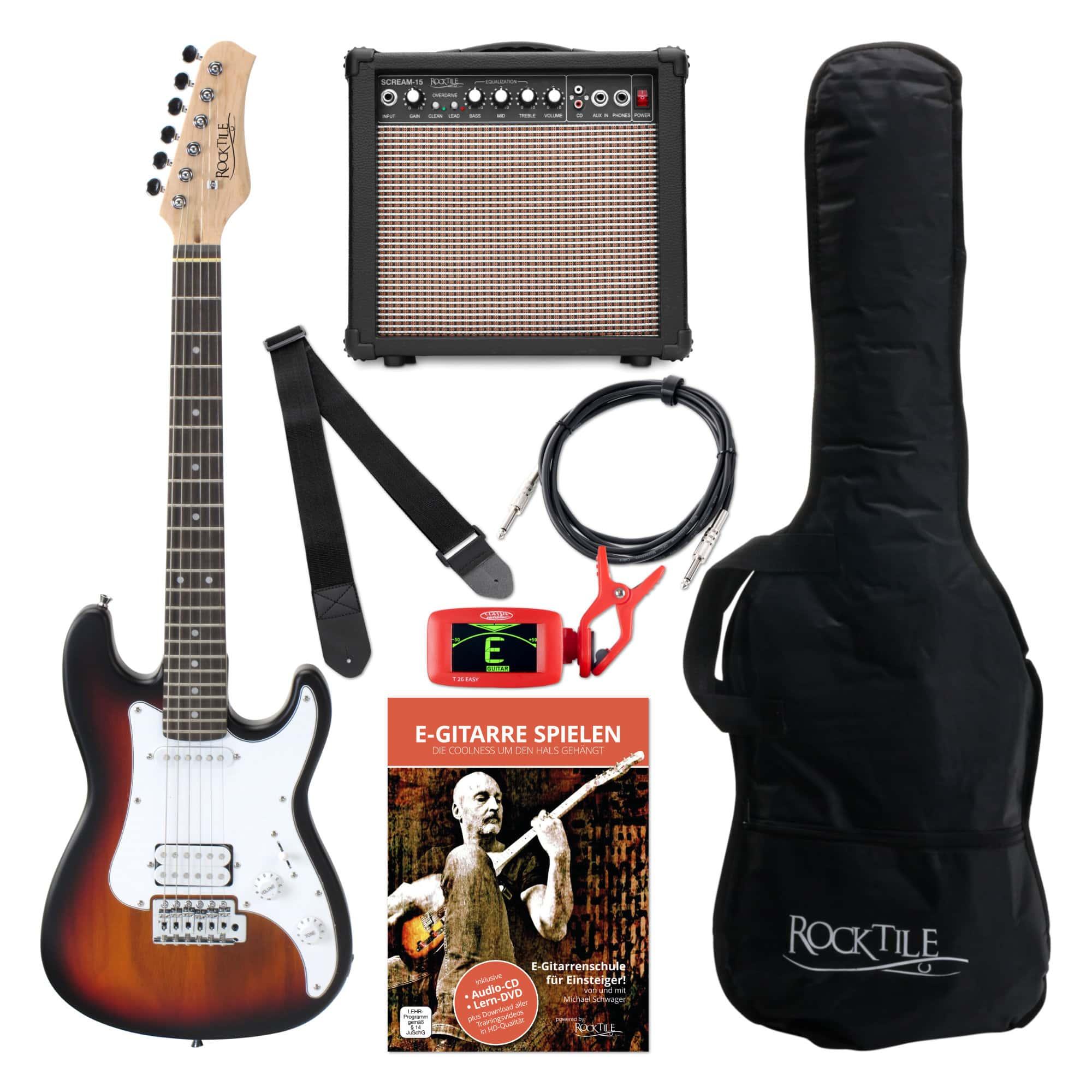 Rocktile Sphere Junior E Gitarre 3|4 Sunburst SET inkl. Verstärker, Kabel und Gurt