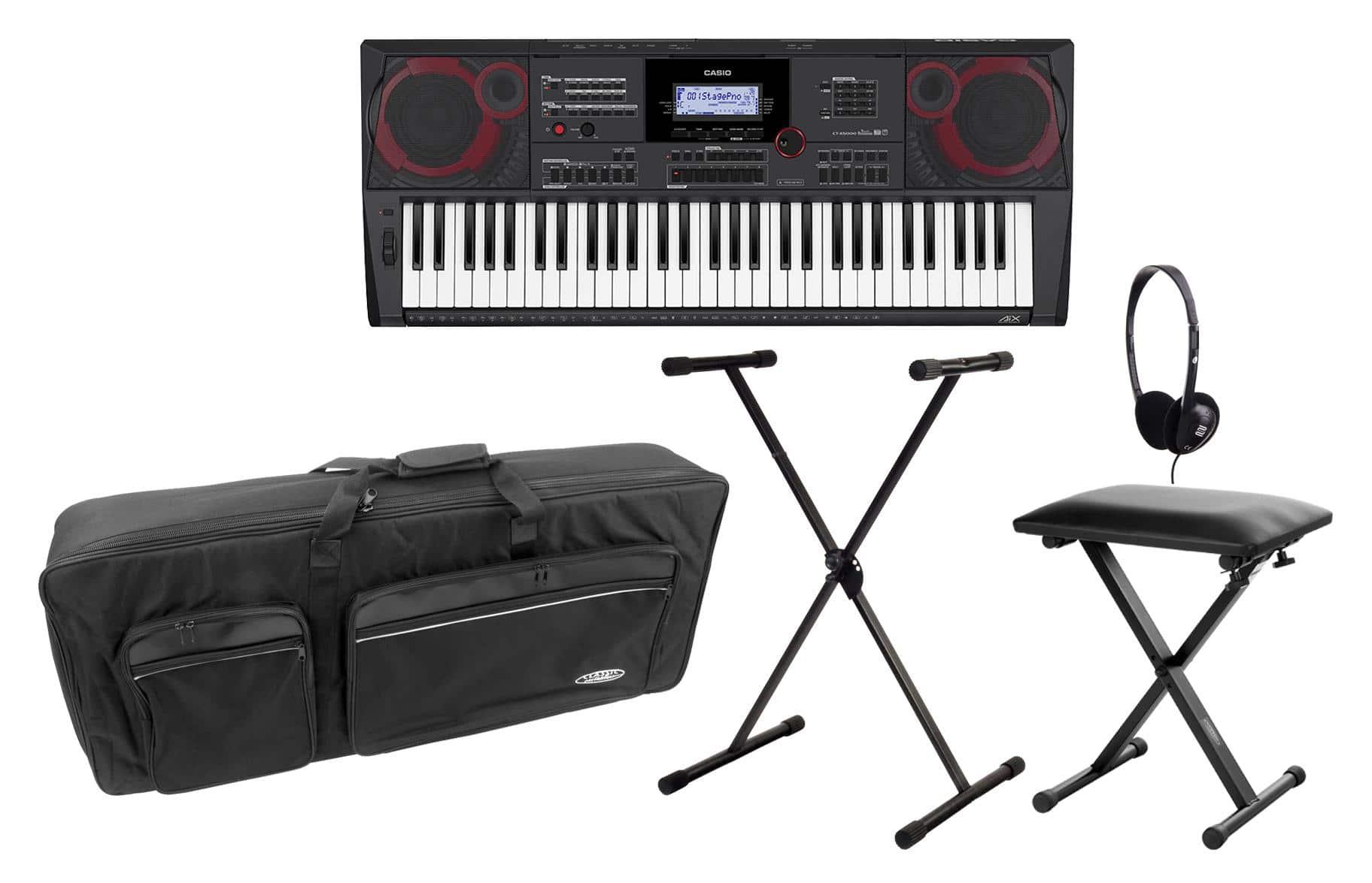 Casio CT X5000 Midi Keyboard Deluxe Set inkl. Ständer, Kopfhörer, Bank Tasche