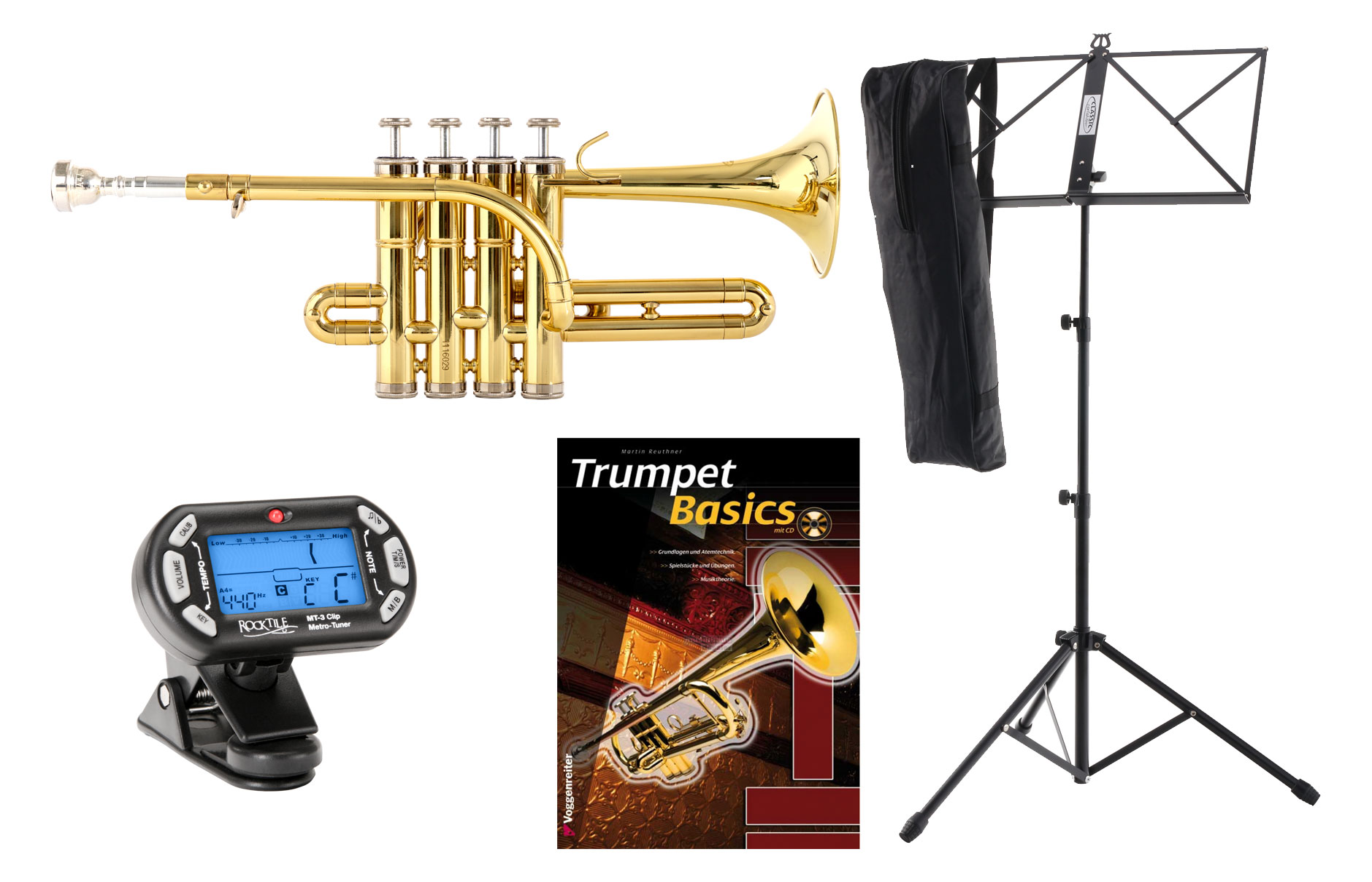 Trompeten - Classic Cantabile PT 196 Bb Piccolotrompete Set inkl. Metronom, Notenständer und Schule - Onlineshop Musikhaus Kirstein