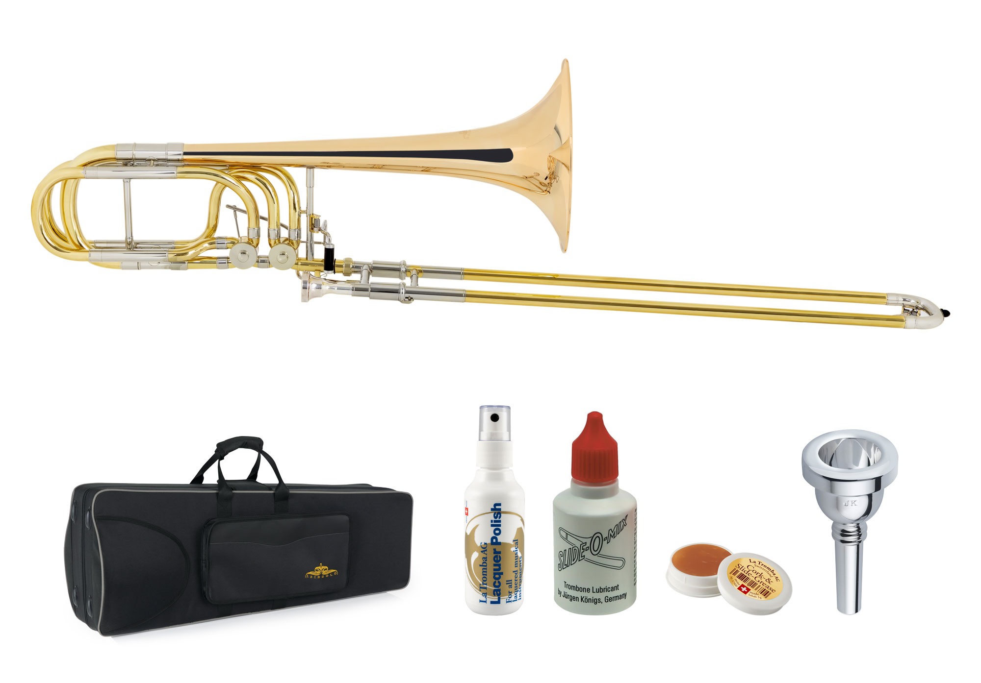 Posaunen - Lechgold BP 18GL Bassposaune Goldmessing Deluxe Set - Onlineshop Musikhaus Kirstein