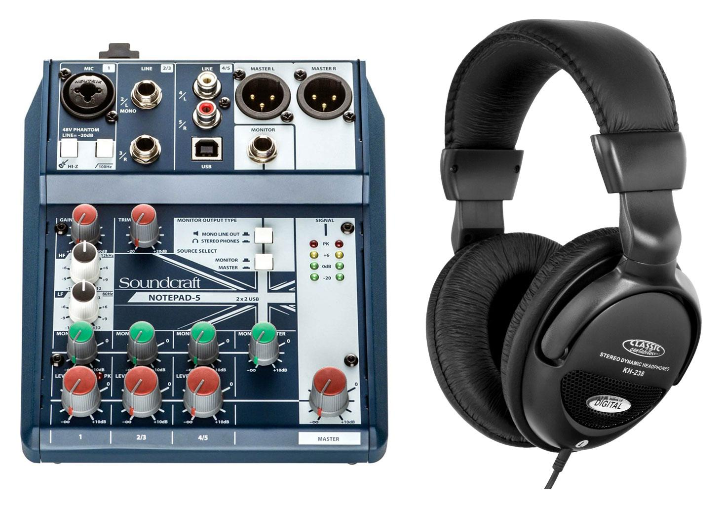Soundcraft Notepad 5 Kompaktmischpult Set inkl. Kopfhörer