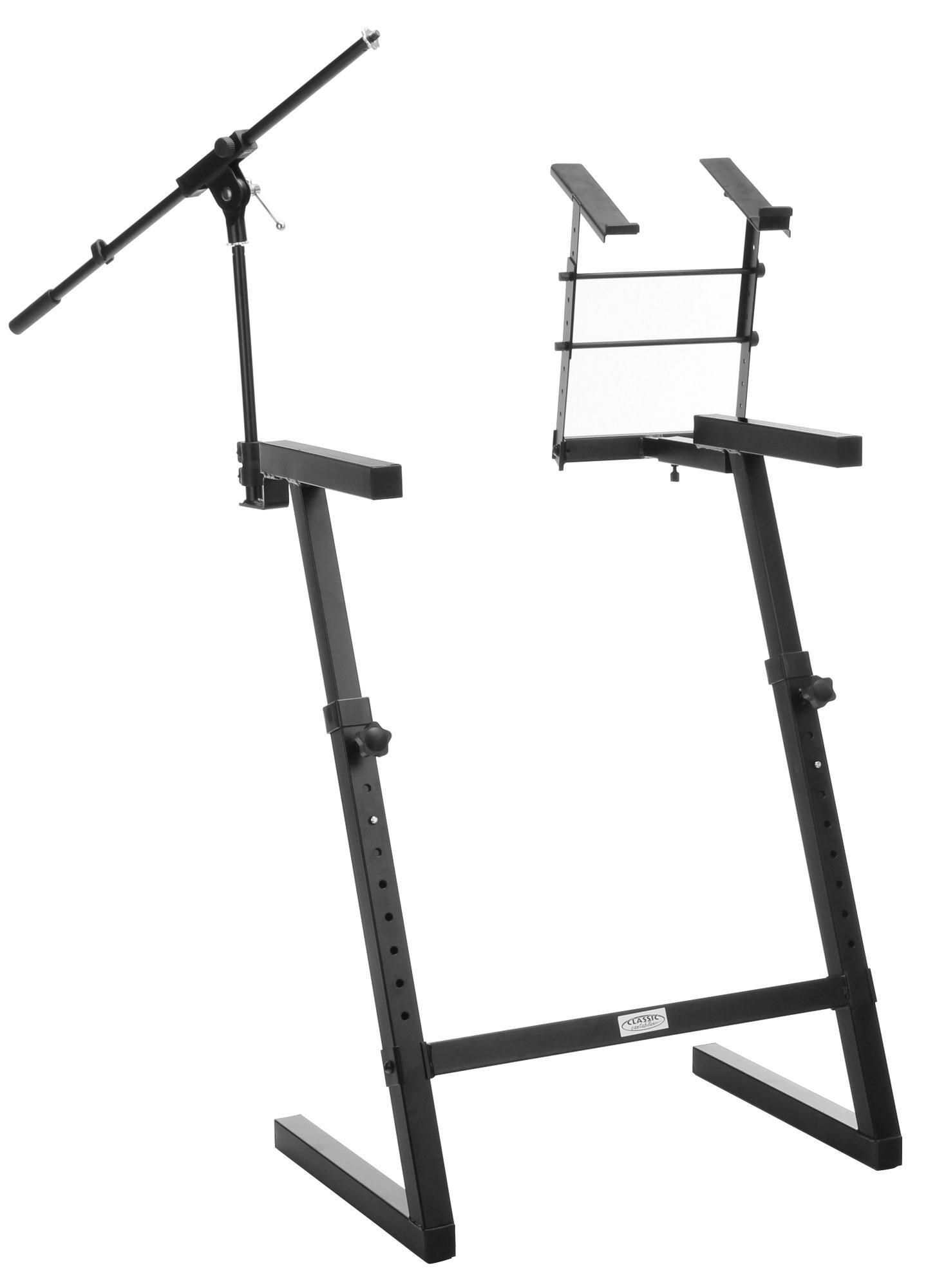 classic cantabile kws 100 keyboard stand with microphone stand and laptop holder. Black Bedroom Furniture Sets. Home Design Ideas