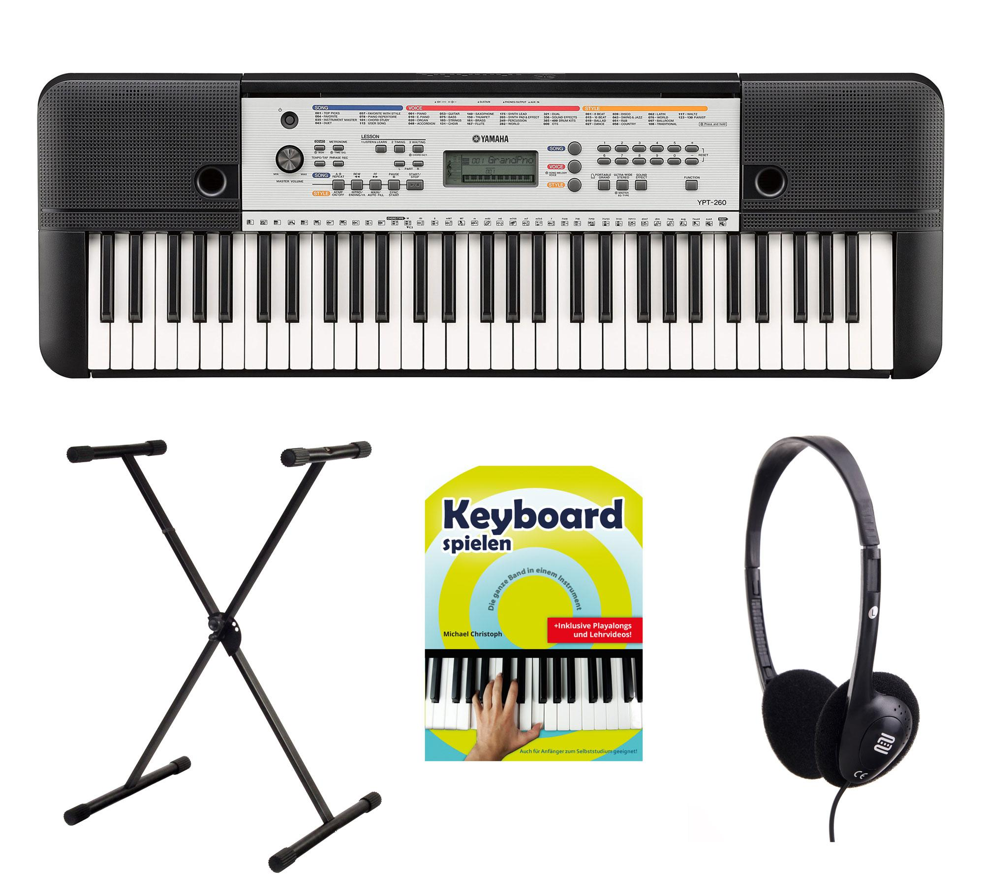 Yamaha YPT 260 Keyboard Set mit Ständer, Kopfhörer Schule