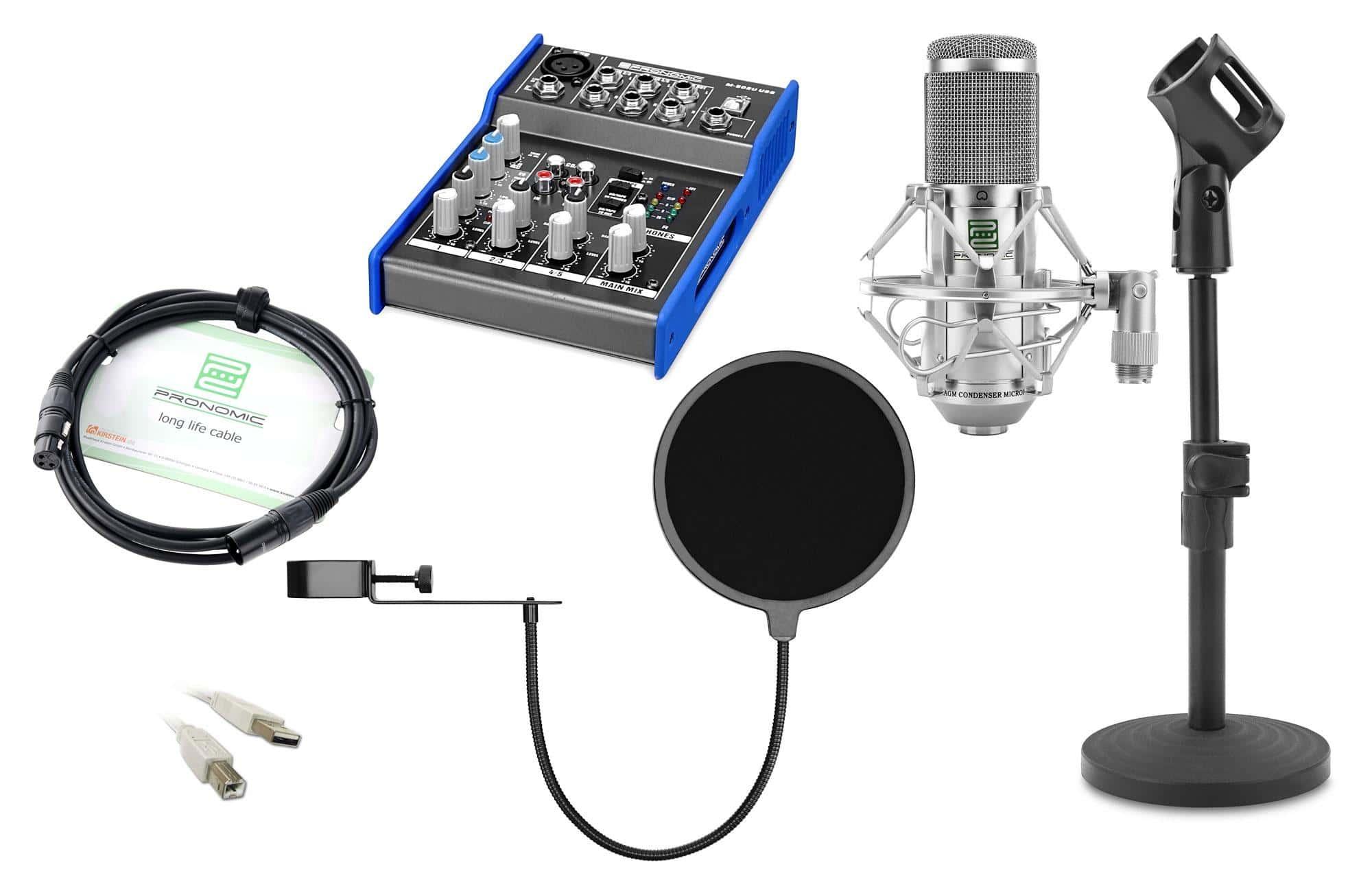 Pronomic CM 100S Podcast Set inkl. Mikrofon, Mischpult, Ständer, Popschutz, Mikrofonkabel und USB Kabel