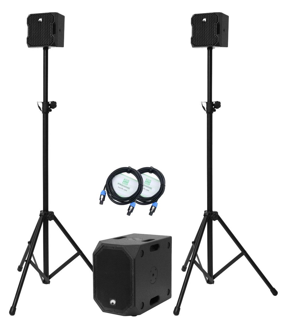 Boxenkomplettanlagen - Omnitronic BOB 2.1 Stativ Set Schwarz - Onlineshop Musikhaus Kirstein
