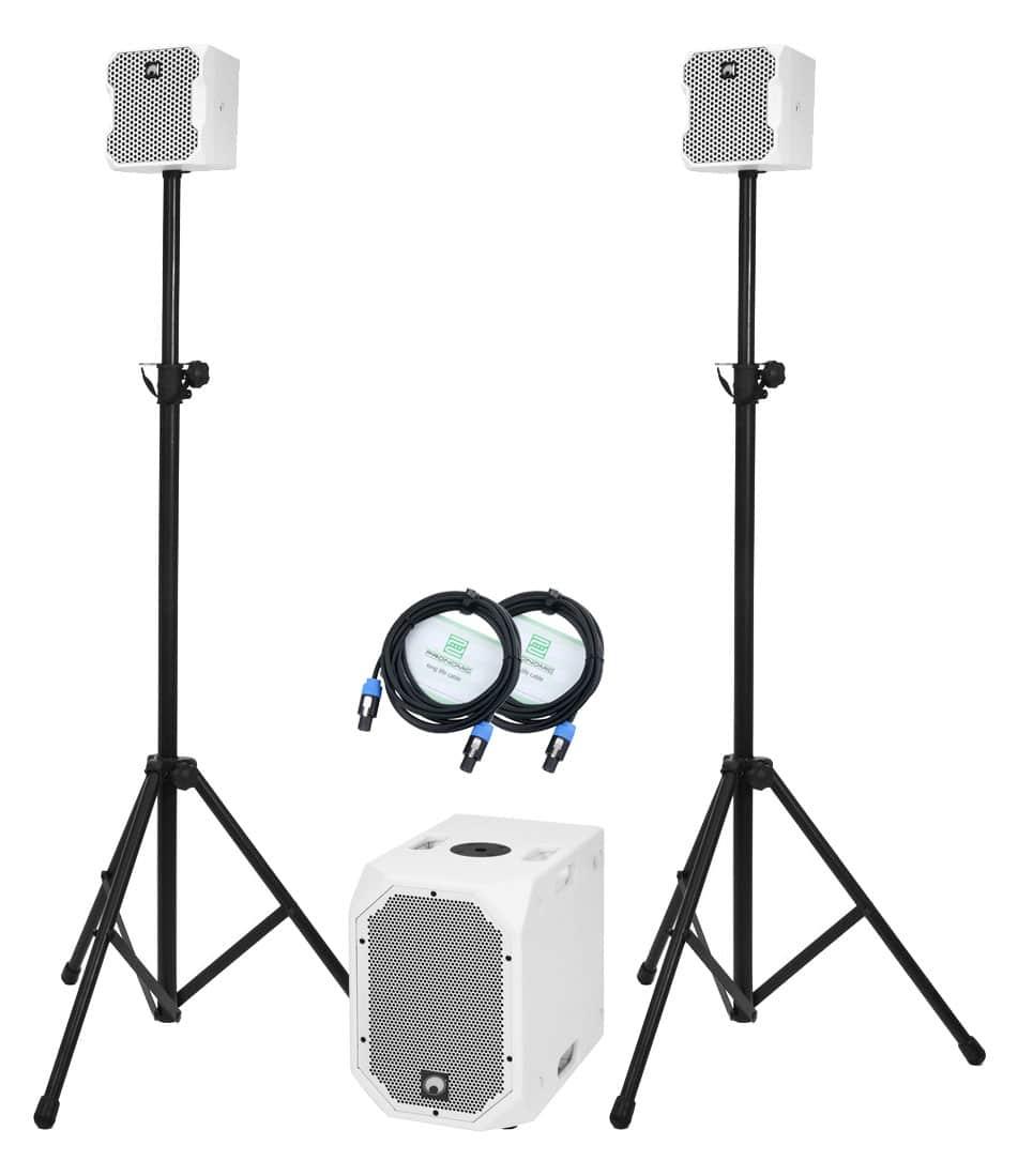 Boxenkomplettanlagen - Omnitronic BOB 2.1 Stativ Set Weiß - Onlineshop Musikhaus Kirstein