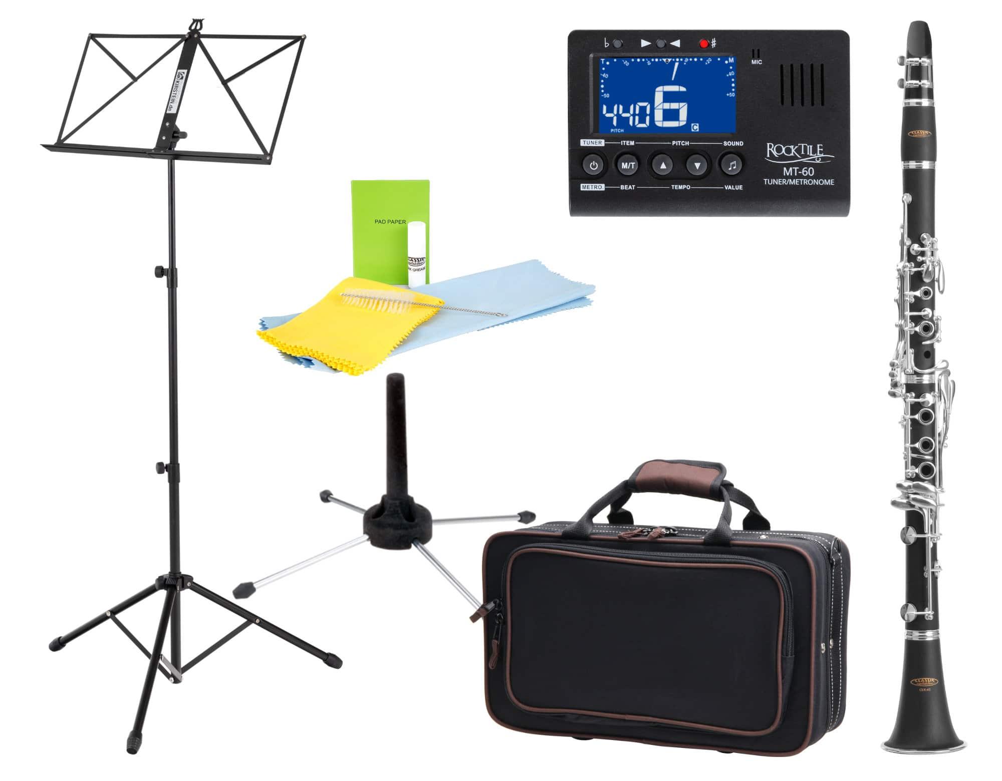 Klarinetten - Classic Cantabile CLK 45 B Klarinette Set inkl. Notenständer, Stimmgerät und Ständer - Onlineshop Musikhaus Kirstein