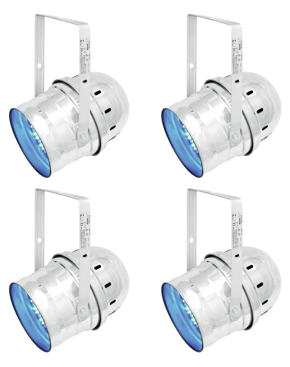 Eurolite LED PAR 64 RGB 10mm Short Silber 4er Set