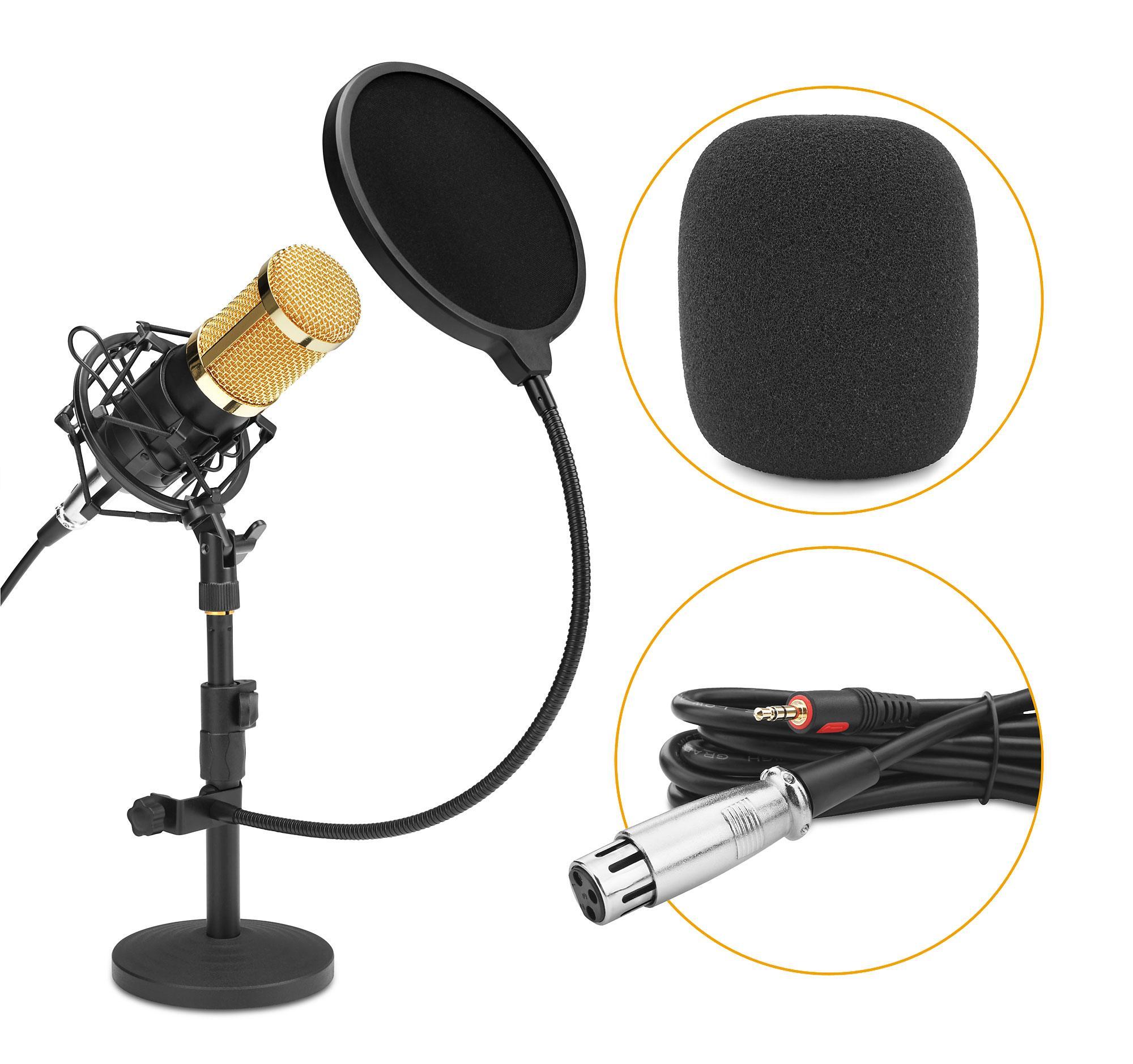 McGrey CM 80B Kondensator Podcast Set mit Mikrofon, Tischstativ und Popkiller