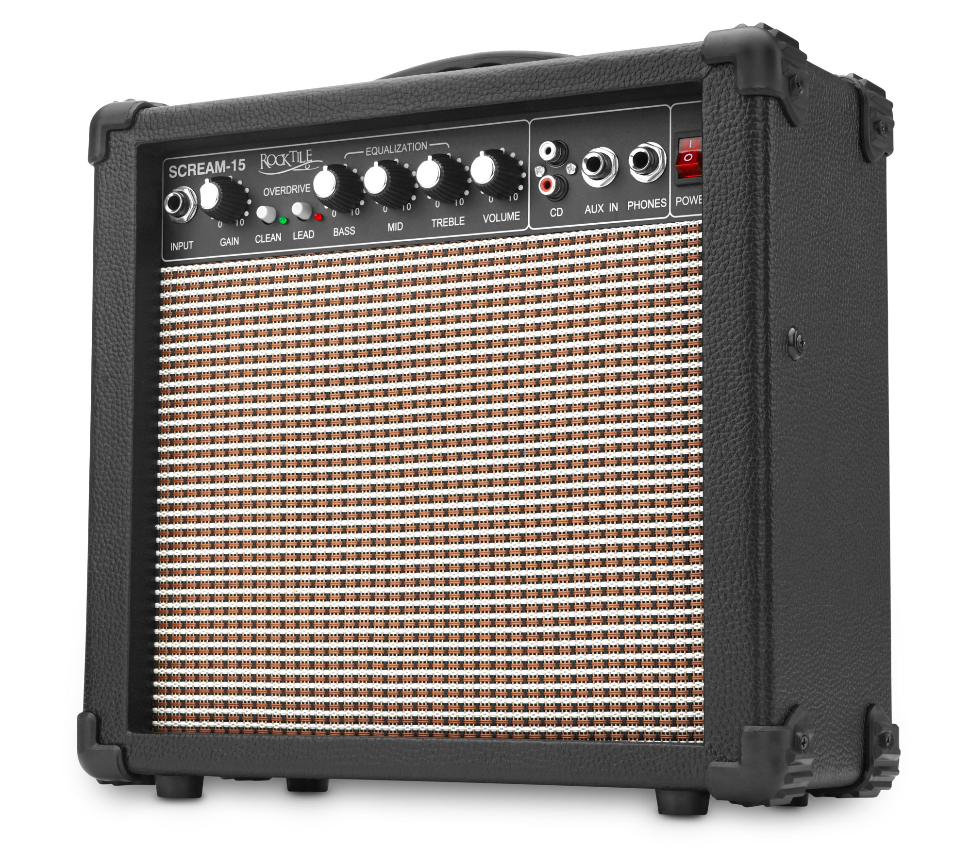 rocktile scream 15 mini guitar amplifier combo amp 15 watt amplifier 2 channel portable aux. Black Bedroom Furniture Sets. Home Design Ideas