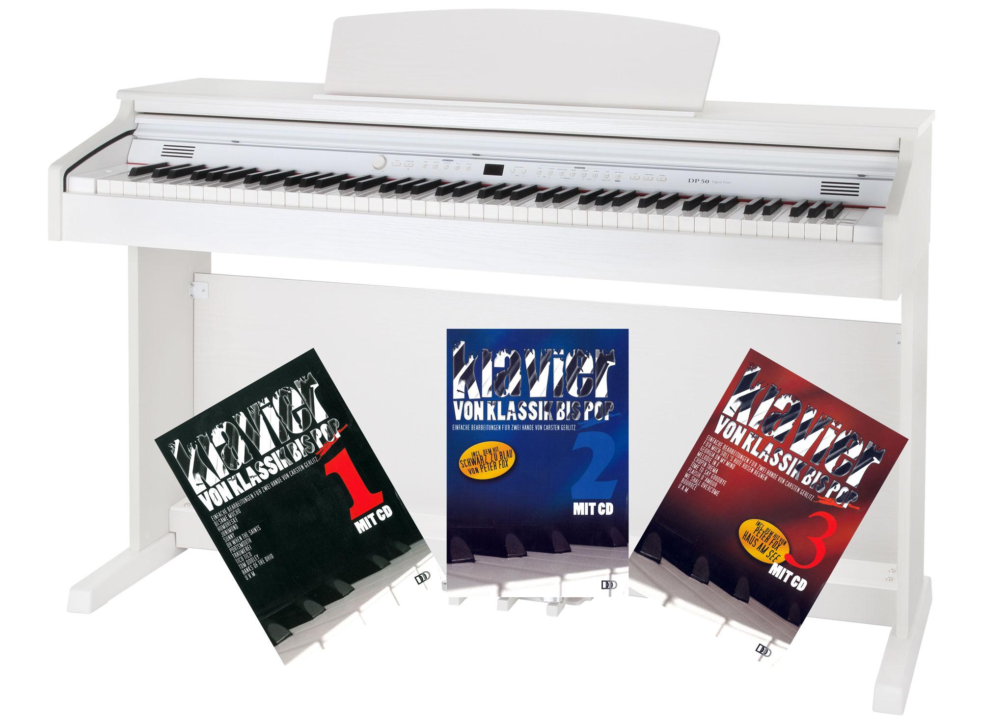Classic Cantabile DP 50 WM E Piano weiß matt mit Notenheft