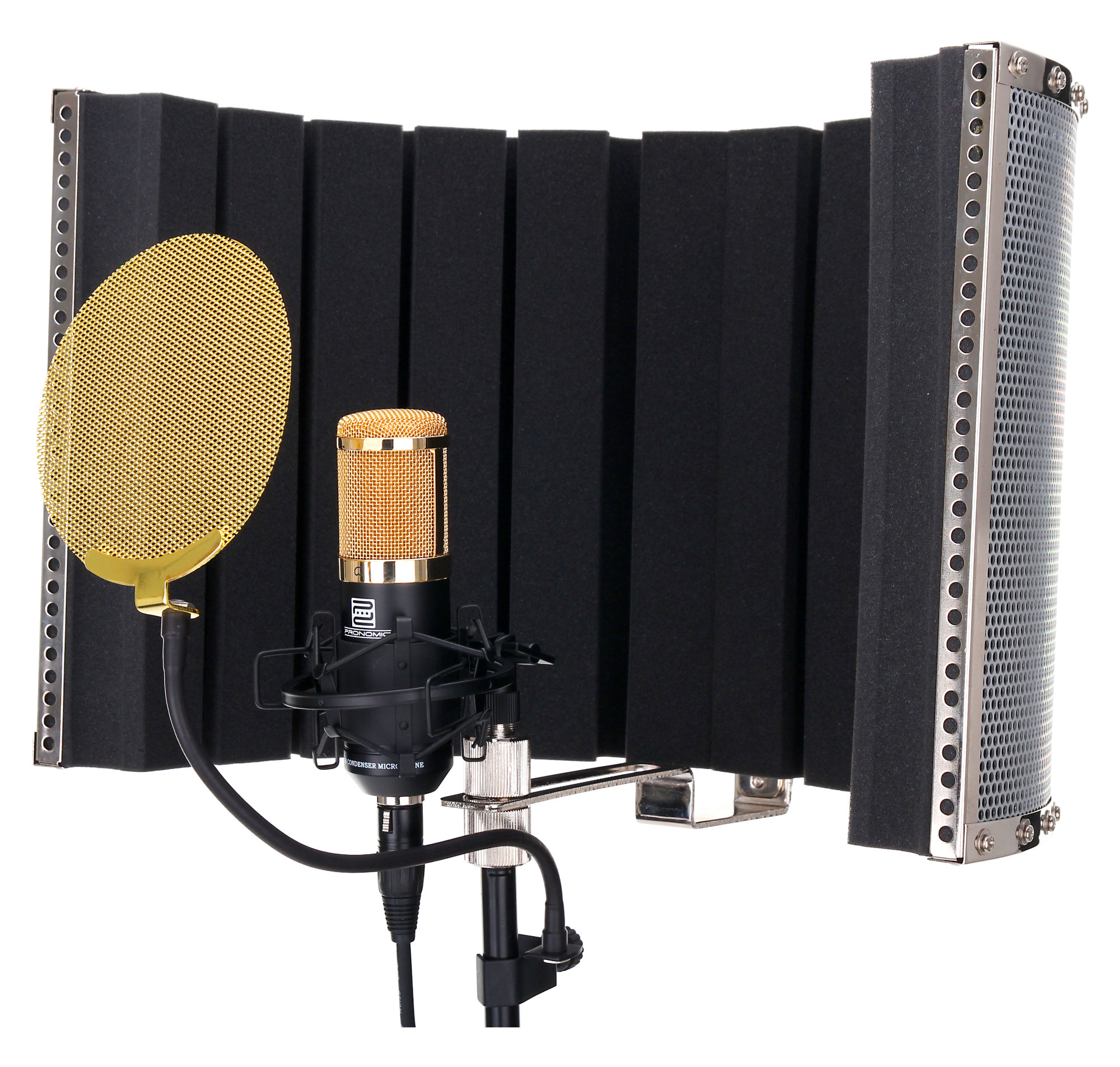pronomic cm 100bg large membrane microphone set incl stand gold pop filter mic screen cable. Black Bedroom Furniture Sets. Home Design Ideas
