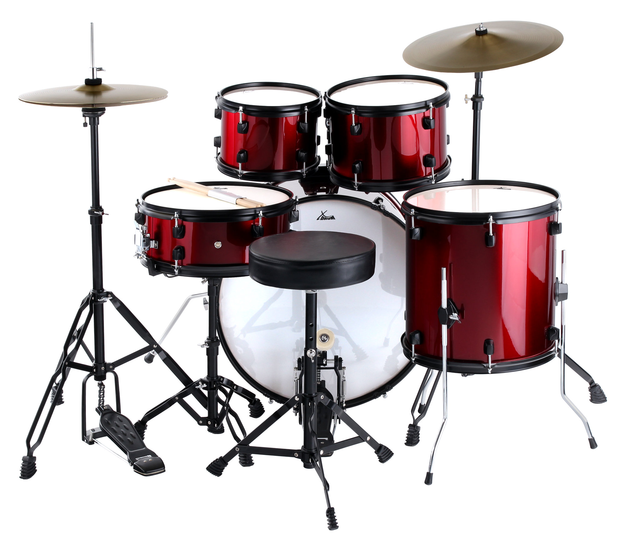 Xdrum Rookie 22 Fusion Drumset Ruby Red Plus Silencer Set